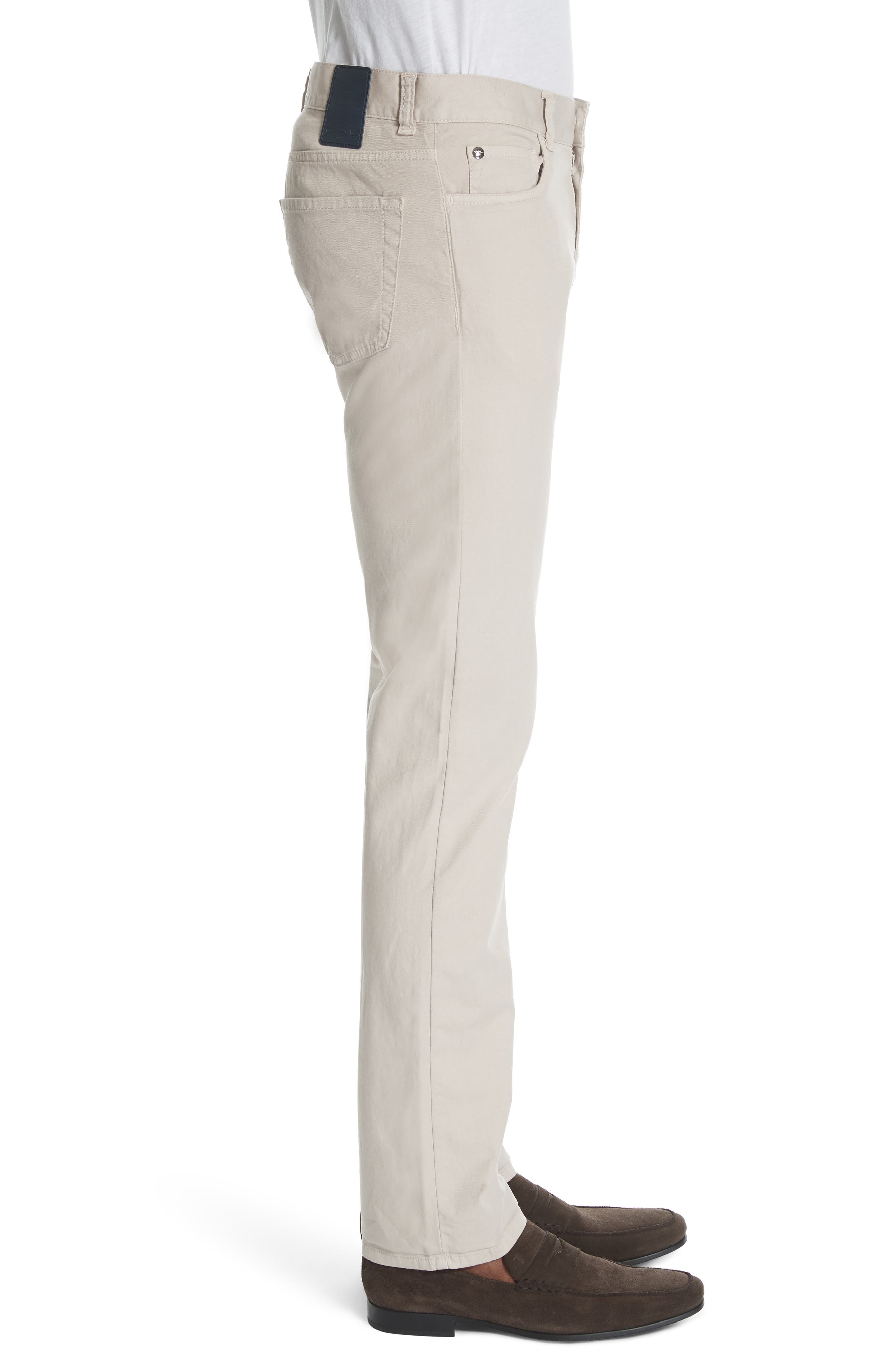 CANALI, Stretch Cotton Five Pocket Trousers, Alternate thumbnail 4, color, BEIGE