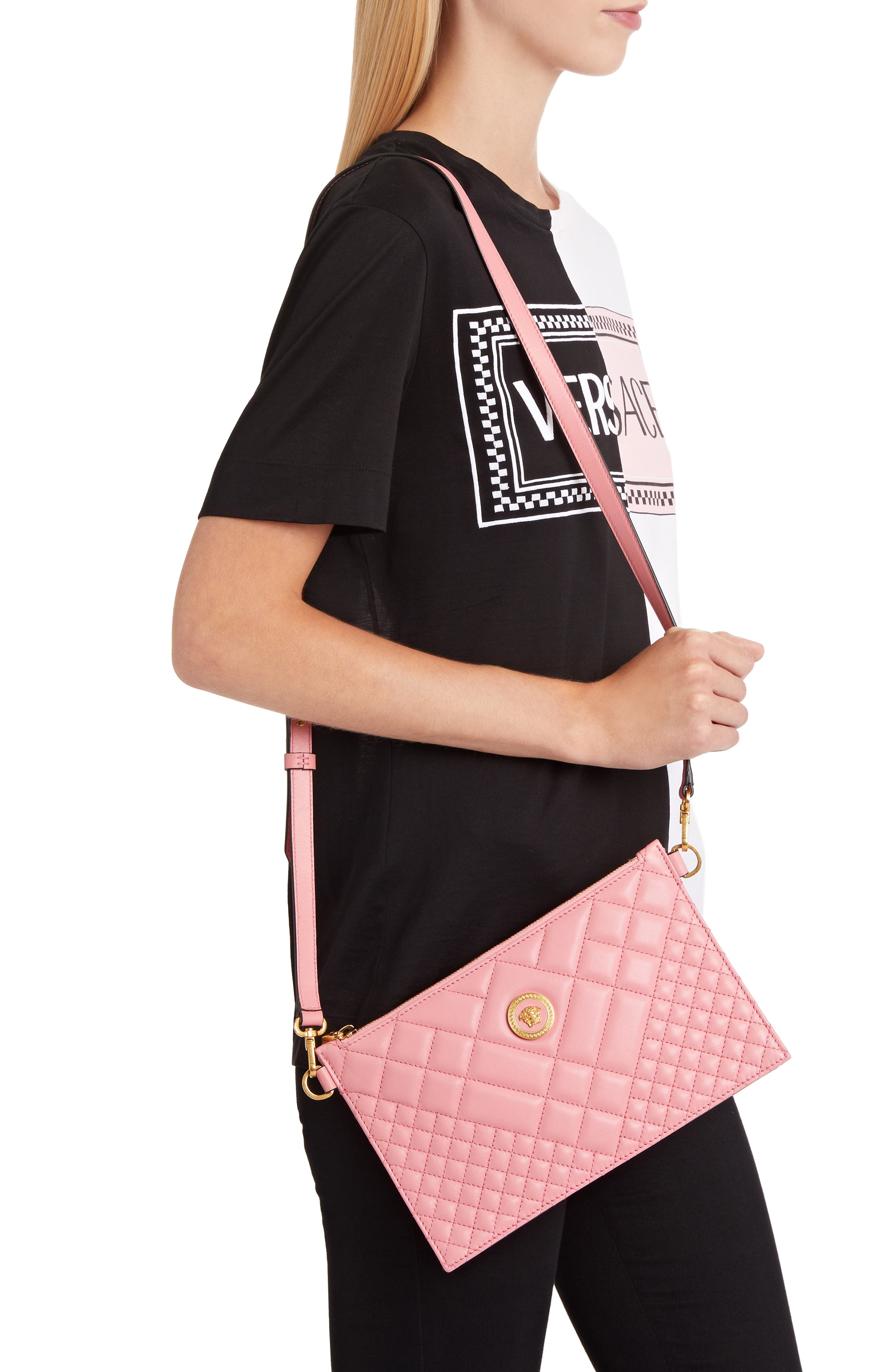 VERSACE, Tribute Icon Quilted Leather Pouch, Alternate thumbnail 2, color, SHELL PINK/ TRIBUTE GOLD