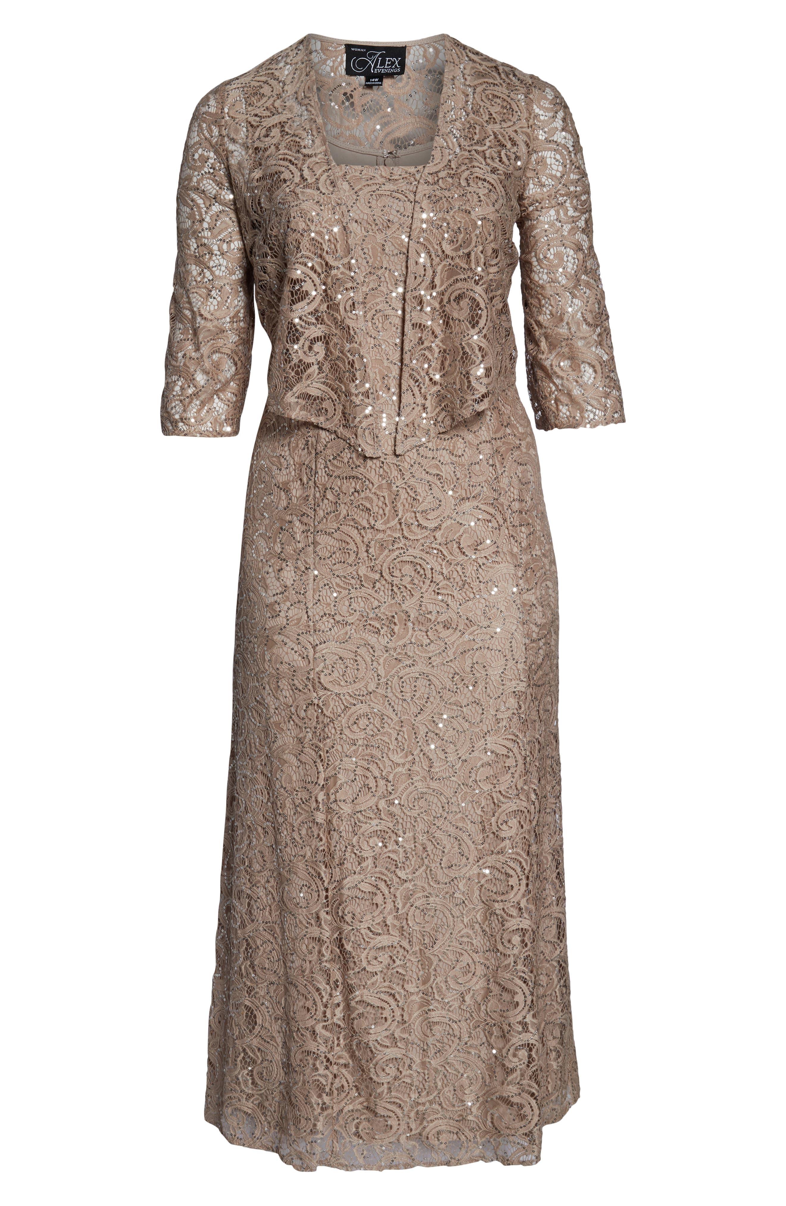 ALEX EVENINGS, Lace & Sequin Jacket Dress, Alternate thumbnail 6, color, BUFF