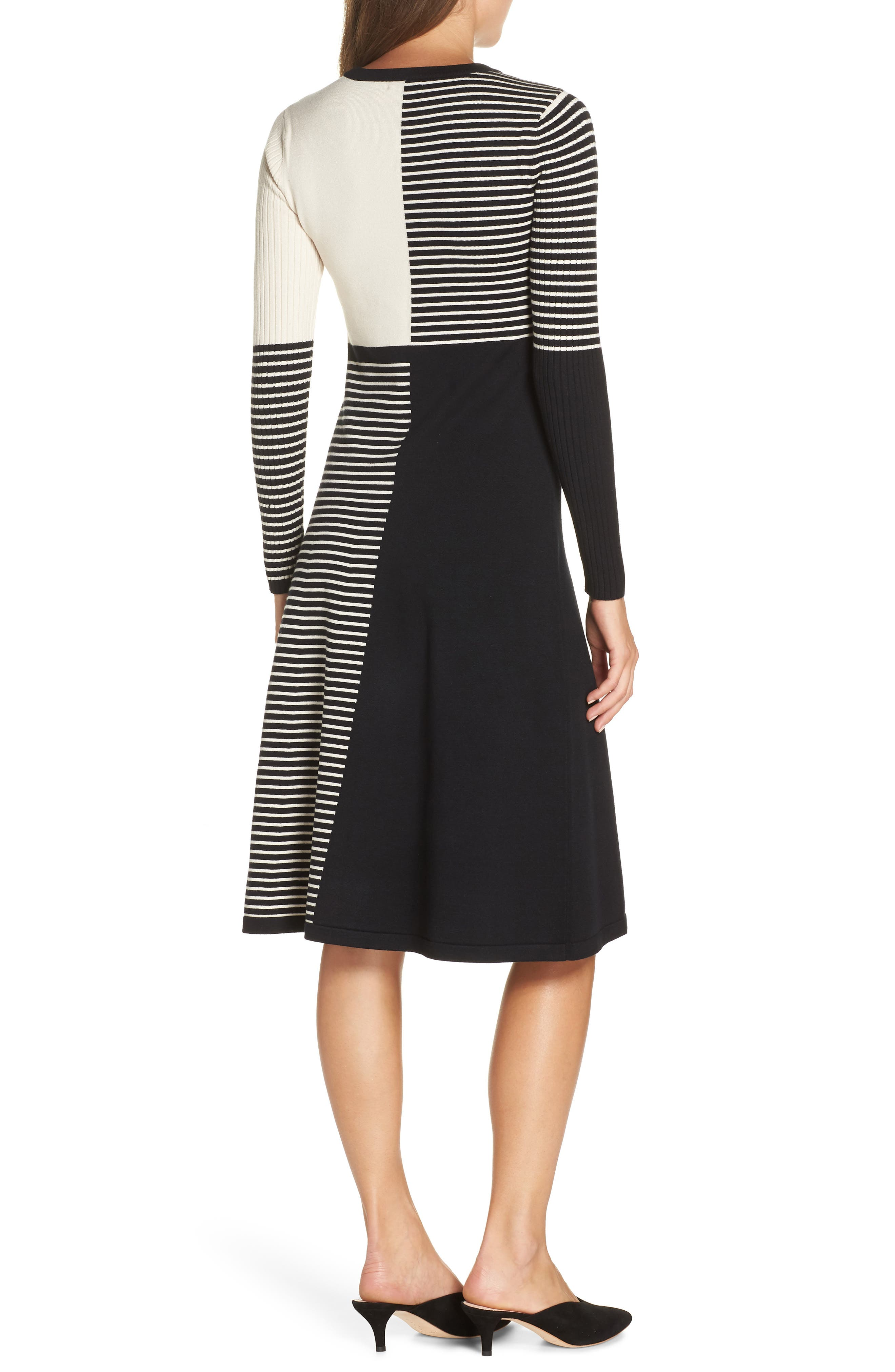 ELIZA J, Placed Stripe Sweater Dress, Alternate thumbnail 2, color, 900