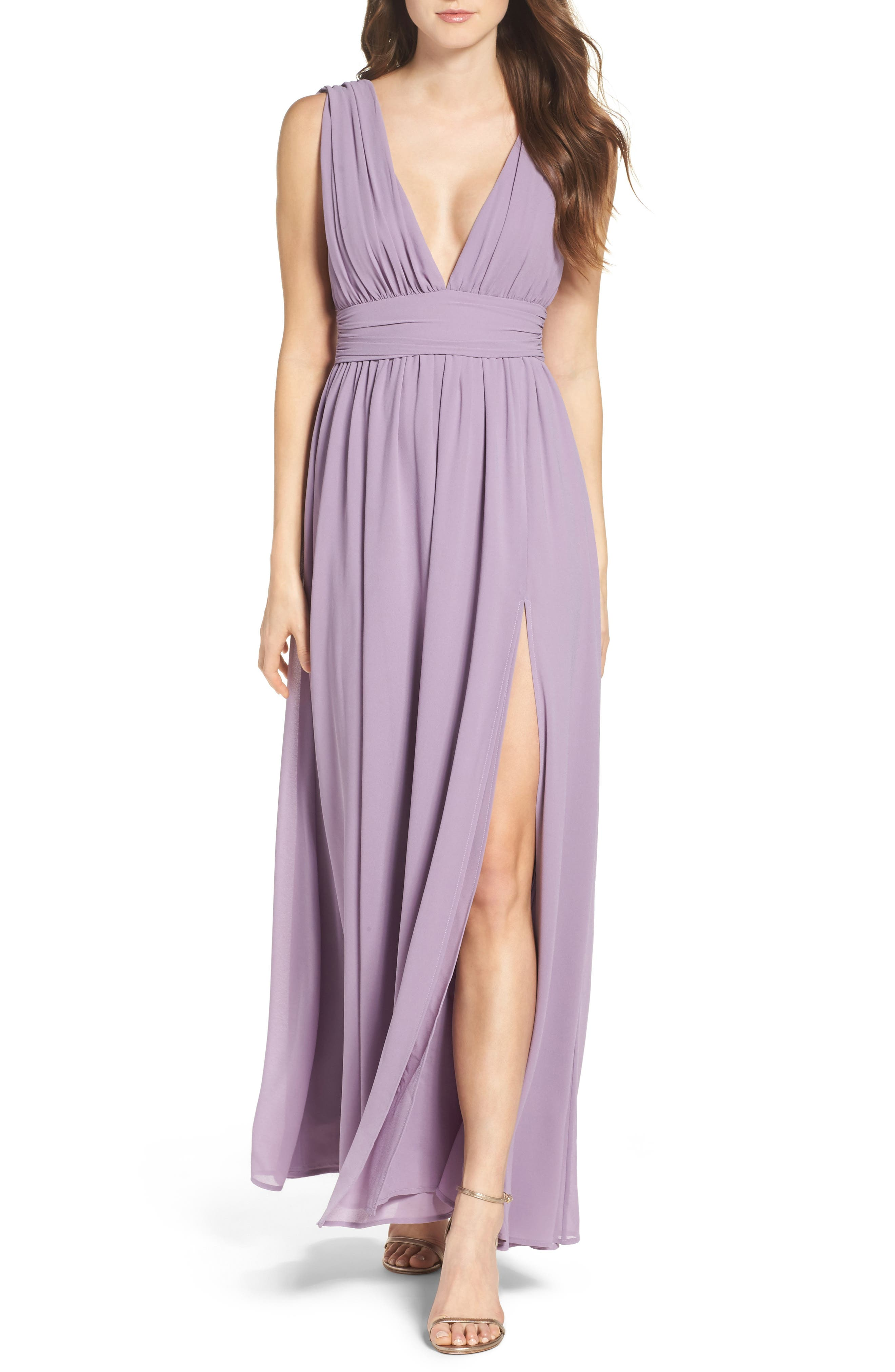 LULUS, Plunging V-Neck Chiffon Gown, Main thumbnail 1, color, DUSTY VIOLET
