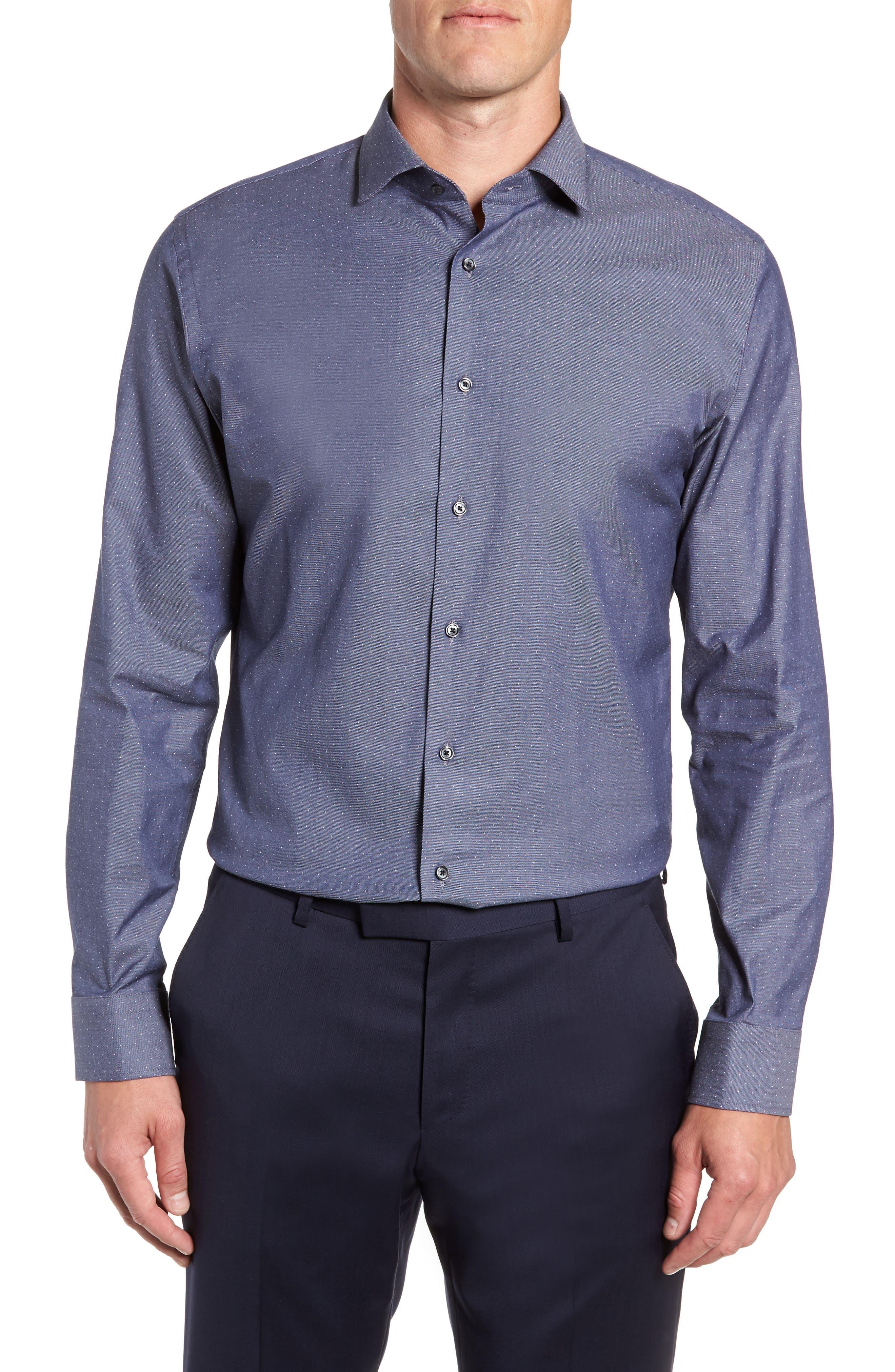 CALIBRATE Trim Fit Stretch Dot Dress Shirt, Main, color, NAVY PEACOAT