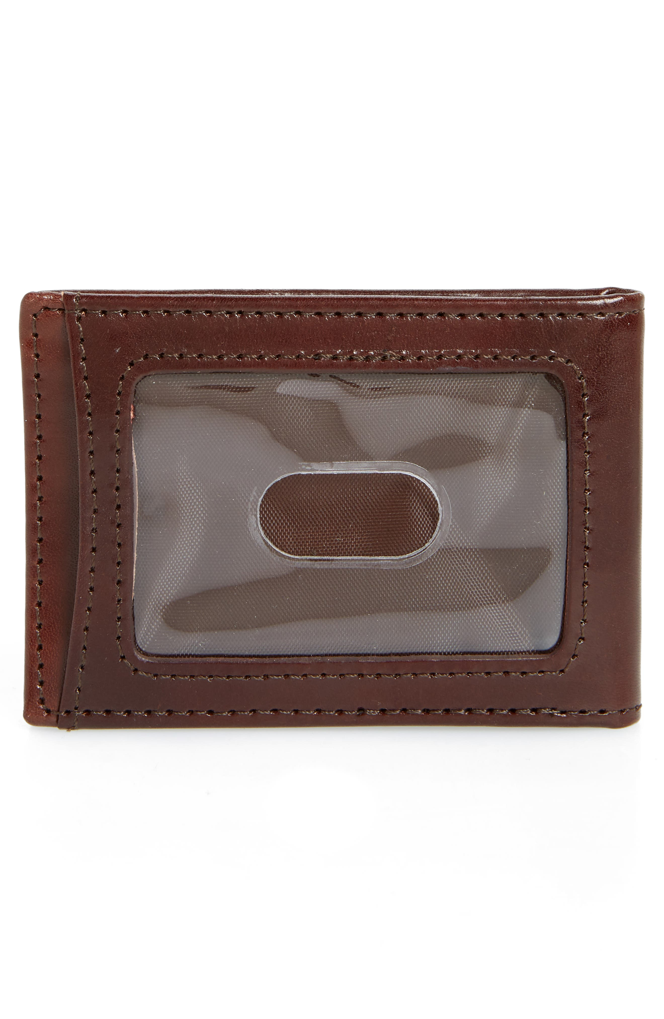 JOHNSTON & MURPHY, Leather Money Clip Wallet, Alternate thumbnail 2, color, BROWN