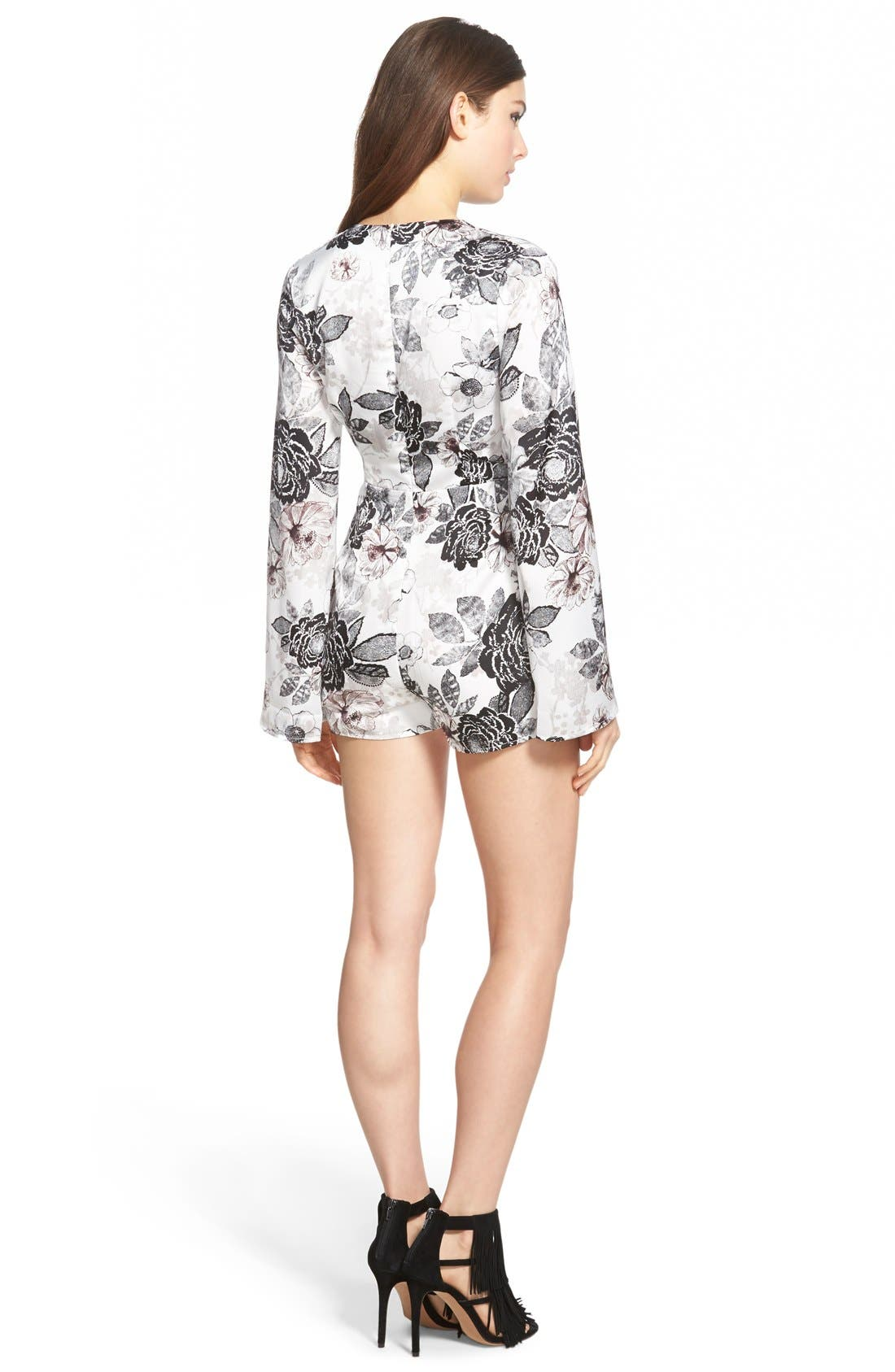 MISSGUIDED, Floral Print Romper, Alternate thumbnail 2, color, 900