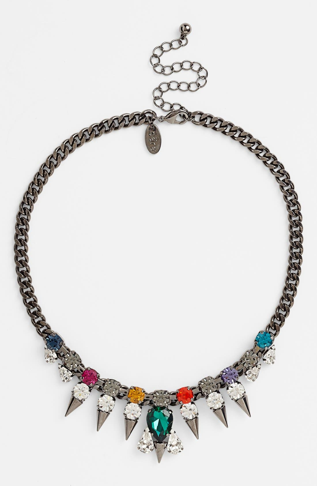 CARA, Multicolor Stone Spike Collar Necklace, Alternate thumbnail 2, color, 300