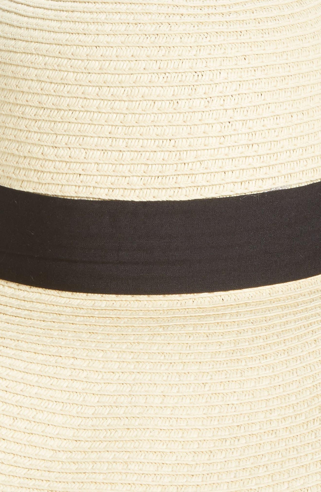 BP., Bow Band Floppy Straw Hat, Alternate thumbnail 2, color, NATURAL/ BLACK