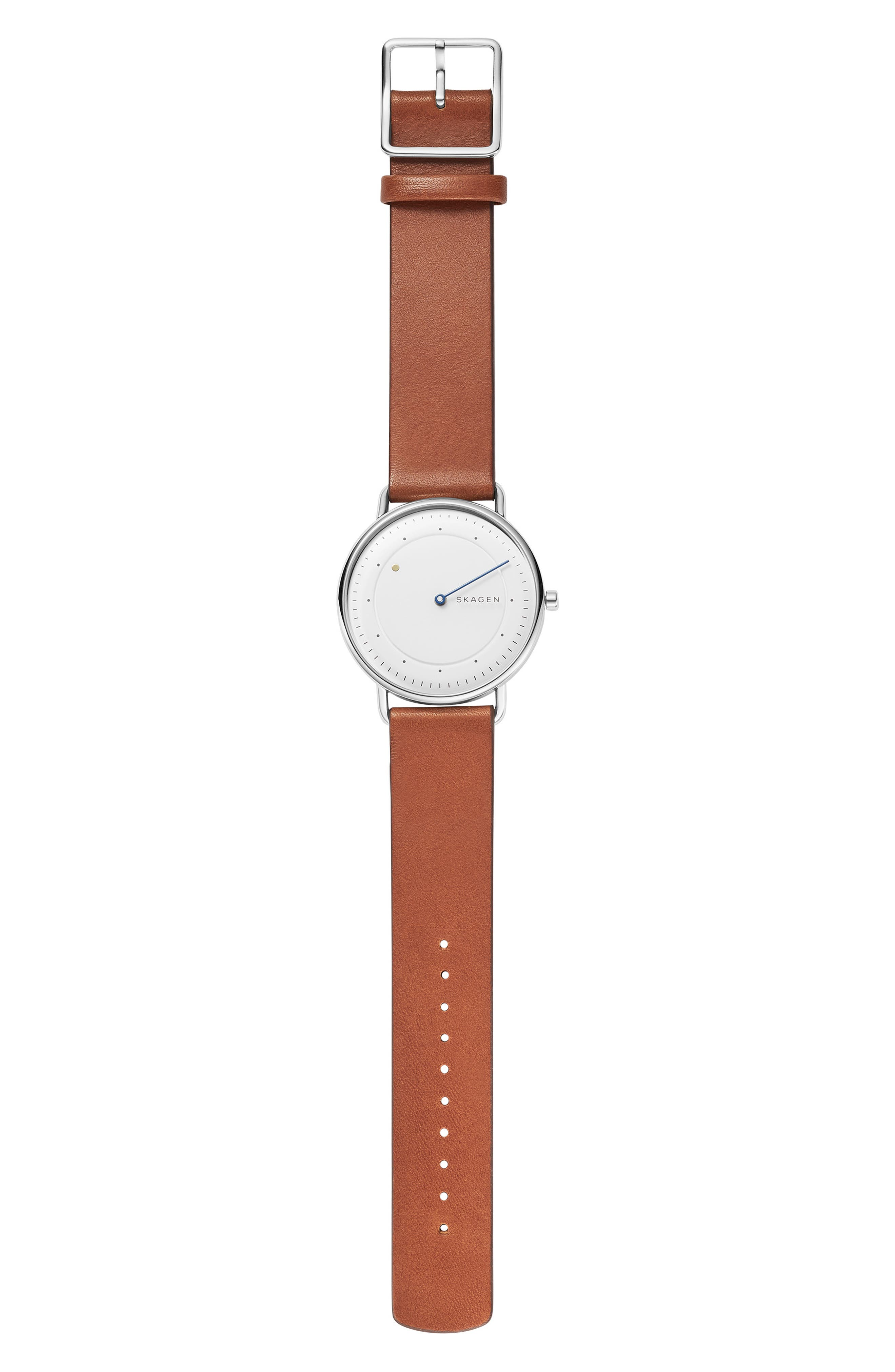 SKAGEN, Horisont Leather Strap Watch, 40mm, Alternate thumbnail 5, color, 200