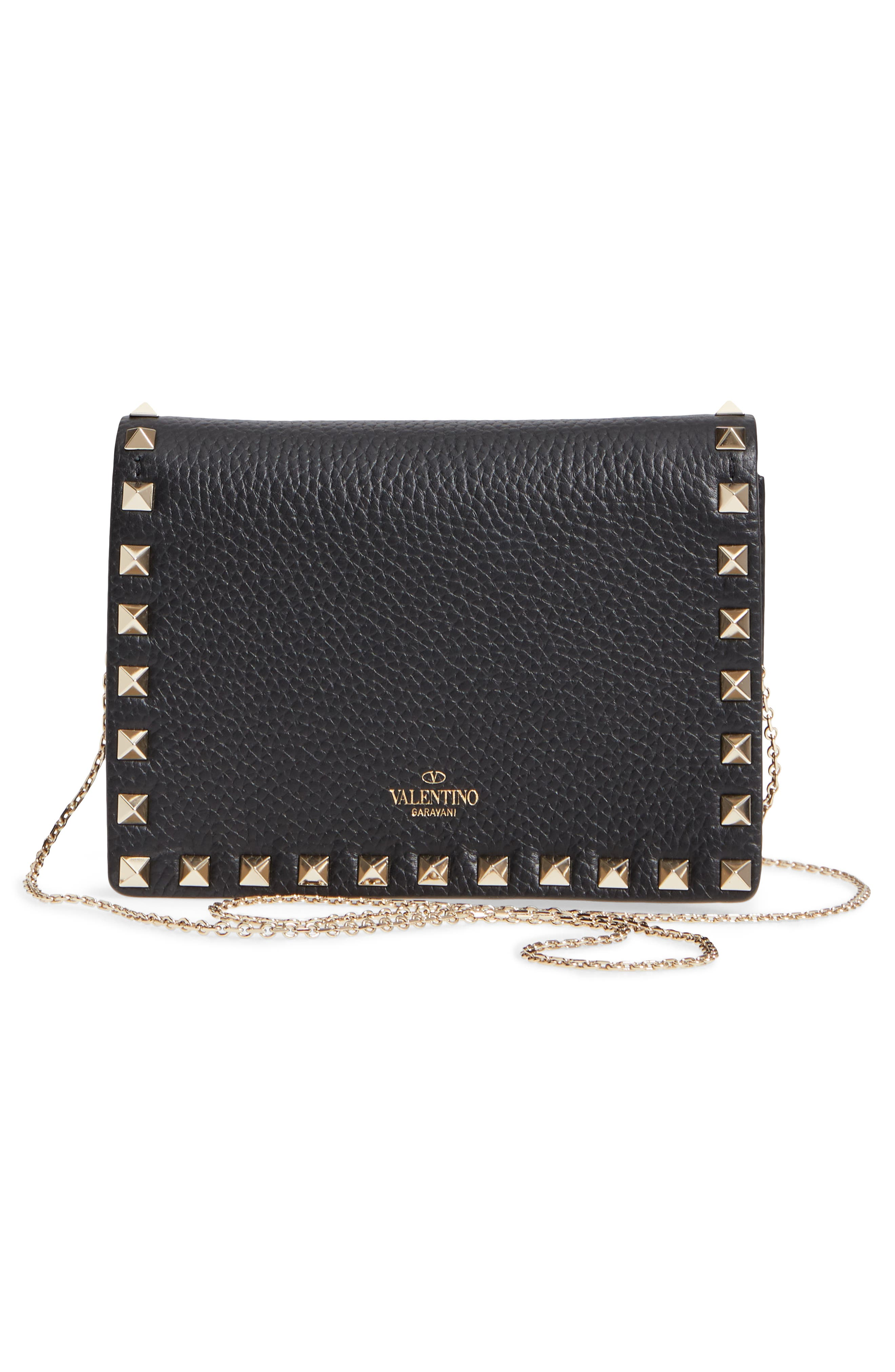 VALENTINO GARAVANI, Rockstud Leather Pouch Wallet on a Chain, Alternate thumbnail 3, color, NERO/ GOLD