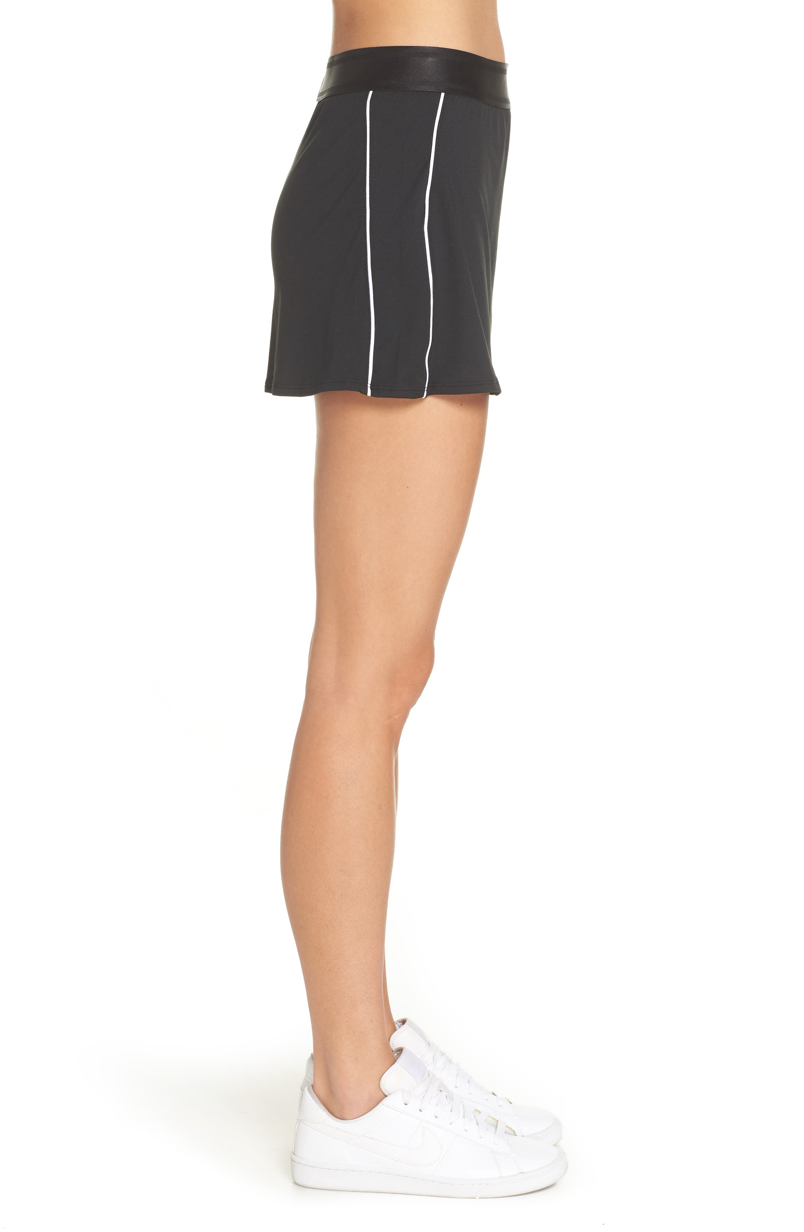 NIKE, Court Dry-FIT Tennis Skirt, Alternate thumbnail 4, color, BLACK/ WHITE/ WHITE/ BLACK
