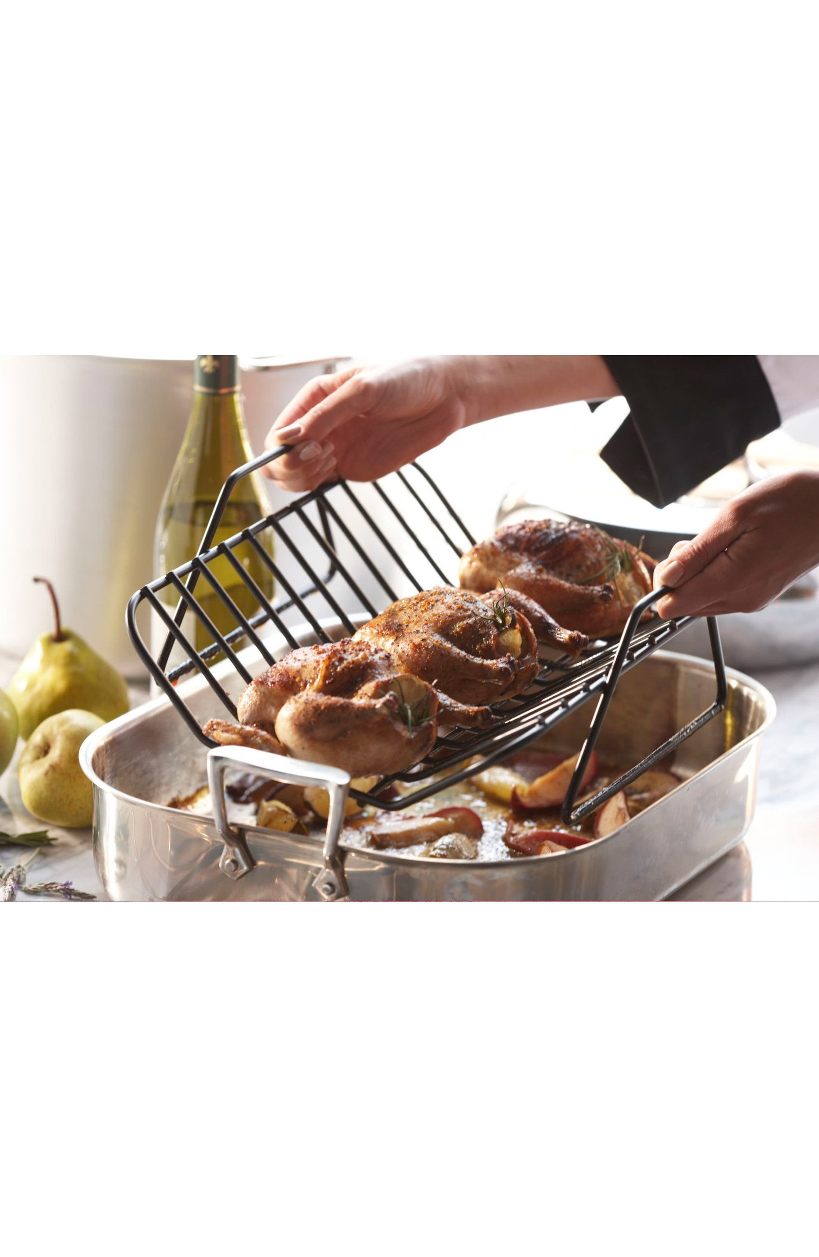 ALL-CLAD, Large Stainless Steel Roasting Pan & Roaster Rack, Alternate thumbnail 2, color, STAINLESS