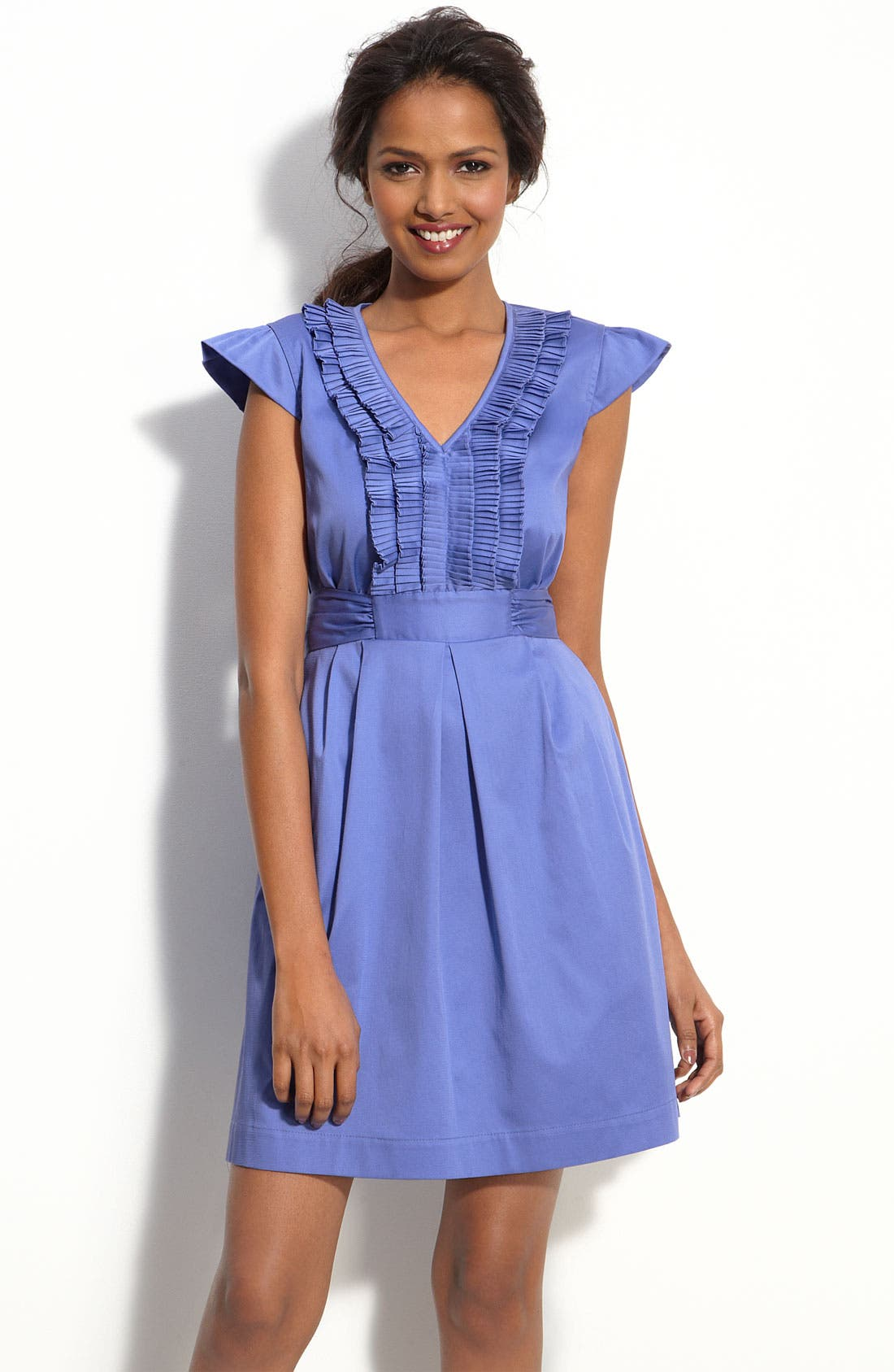 MAX & CLEO, Ruffle Front Sateen Dress, Main thumbnail 1, color, 422