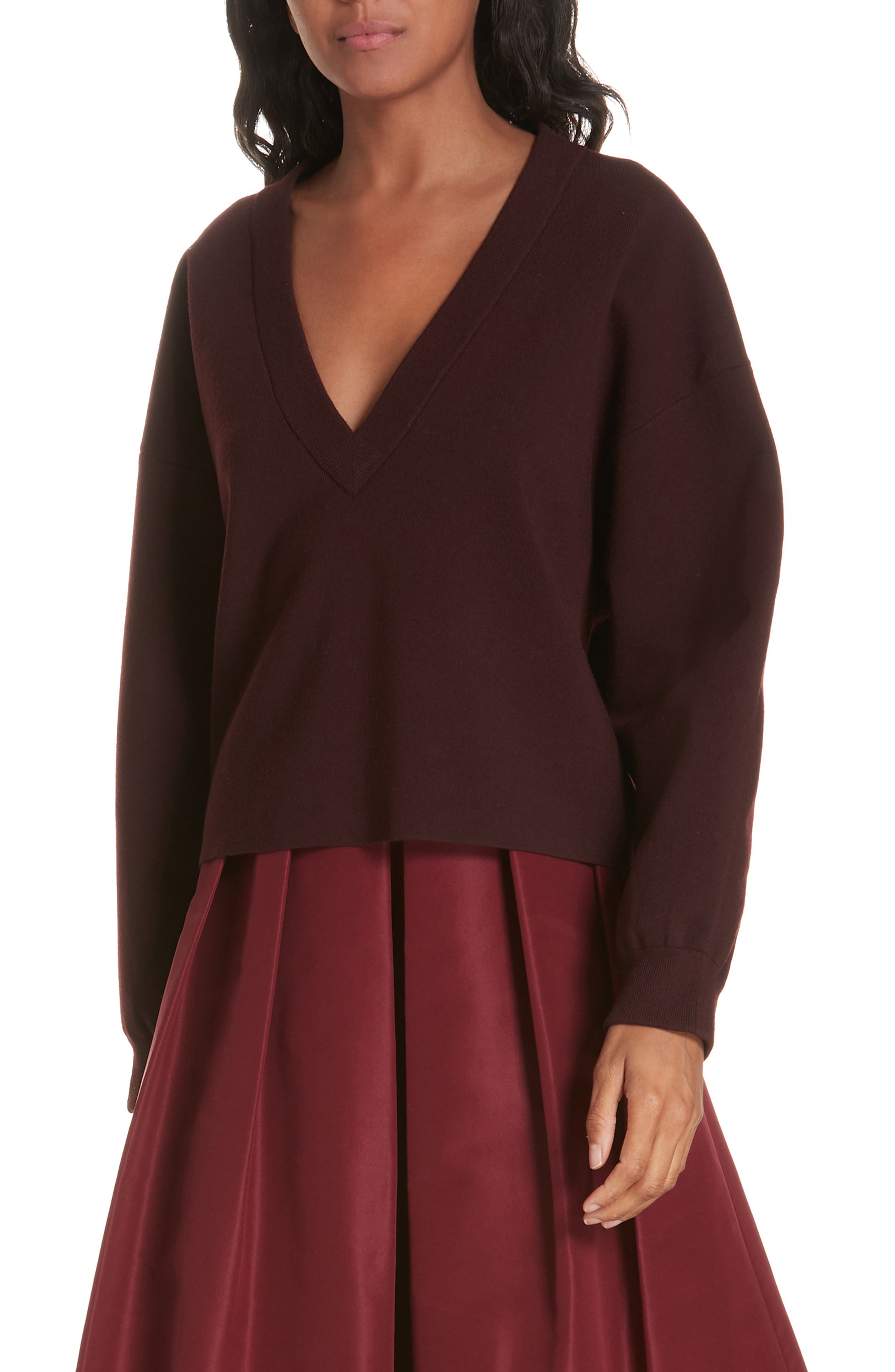 Tibi Sculpted Wool Blend Sweater, Burgundy
