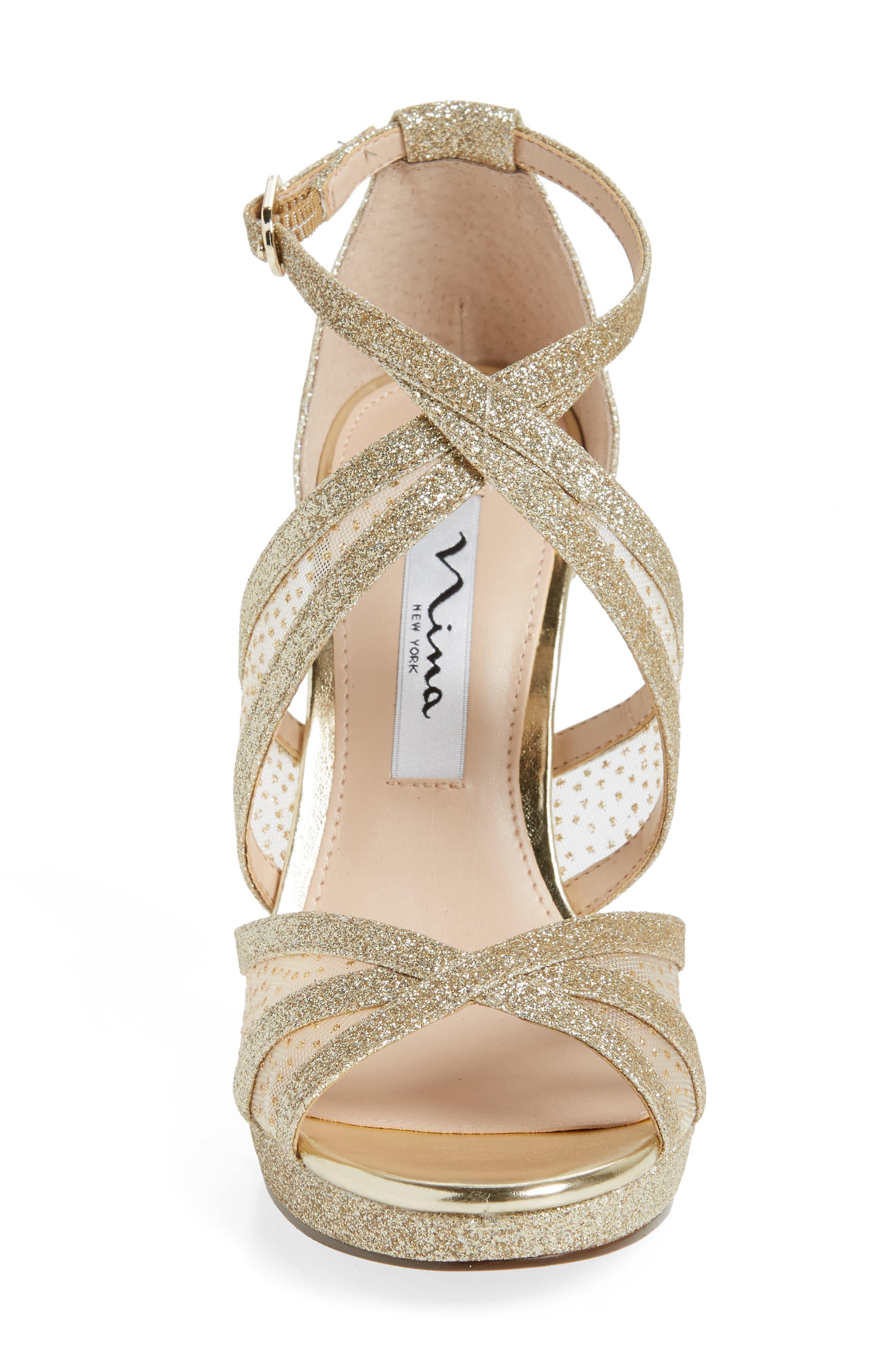NINA, Fenna Strappy Platform Sandal, Alternate thumbnail 4, color, GOLD GLITTER FABRIC