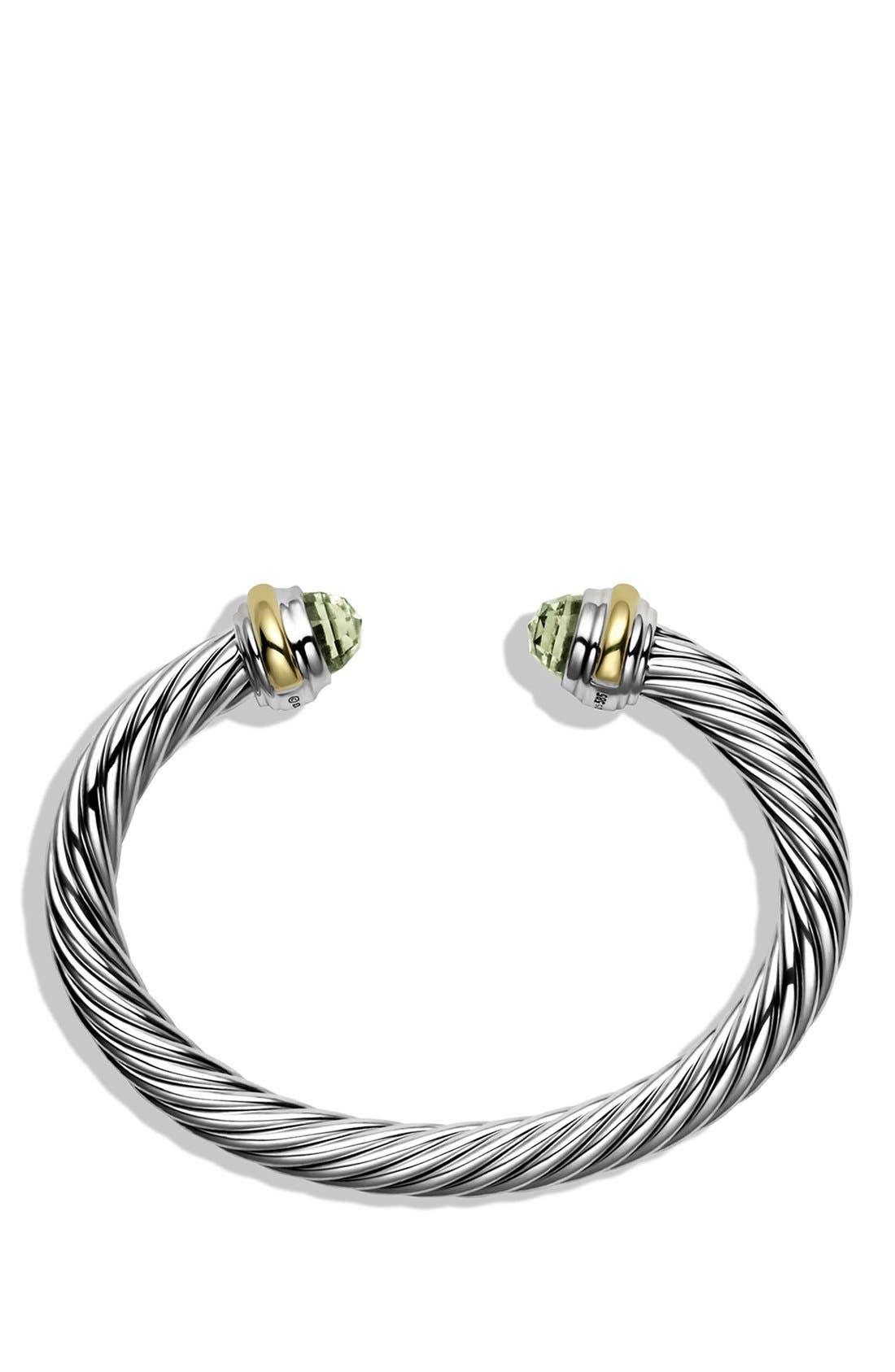 DAVID YURMAN, Cable Classics Bracelet with Semiprecious Stones & 14K Gold, 7mm, Alternate thumbnail 3, color, PRASIOLITE