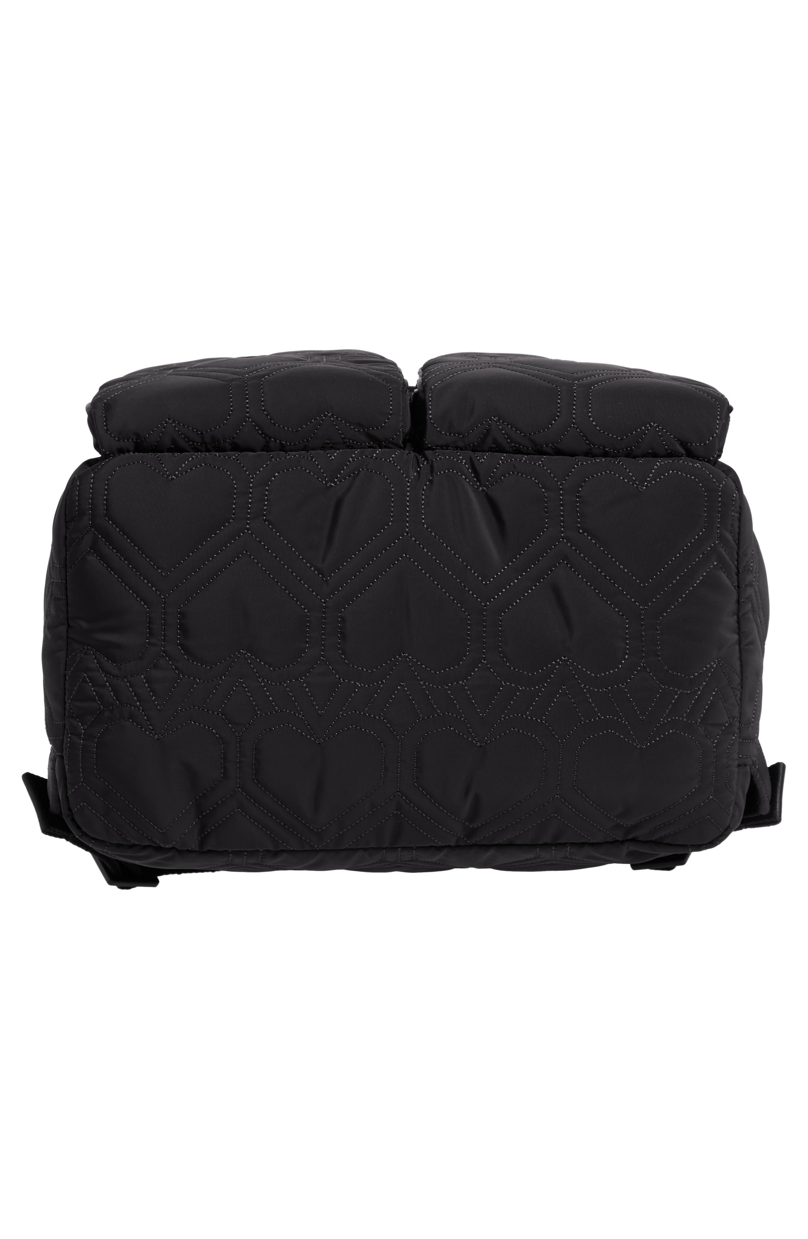 KATE SPADE NEW YORK, large jayne quilted nylon backpack, Alternate thumbnail 6, color, BLACK