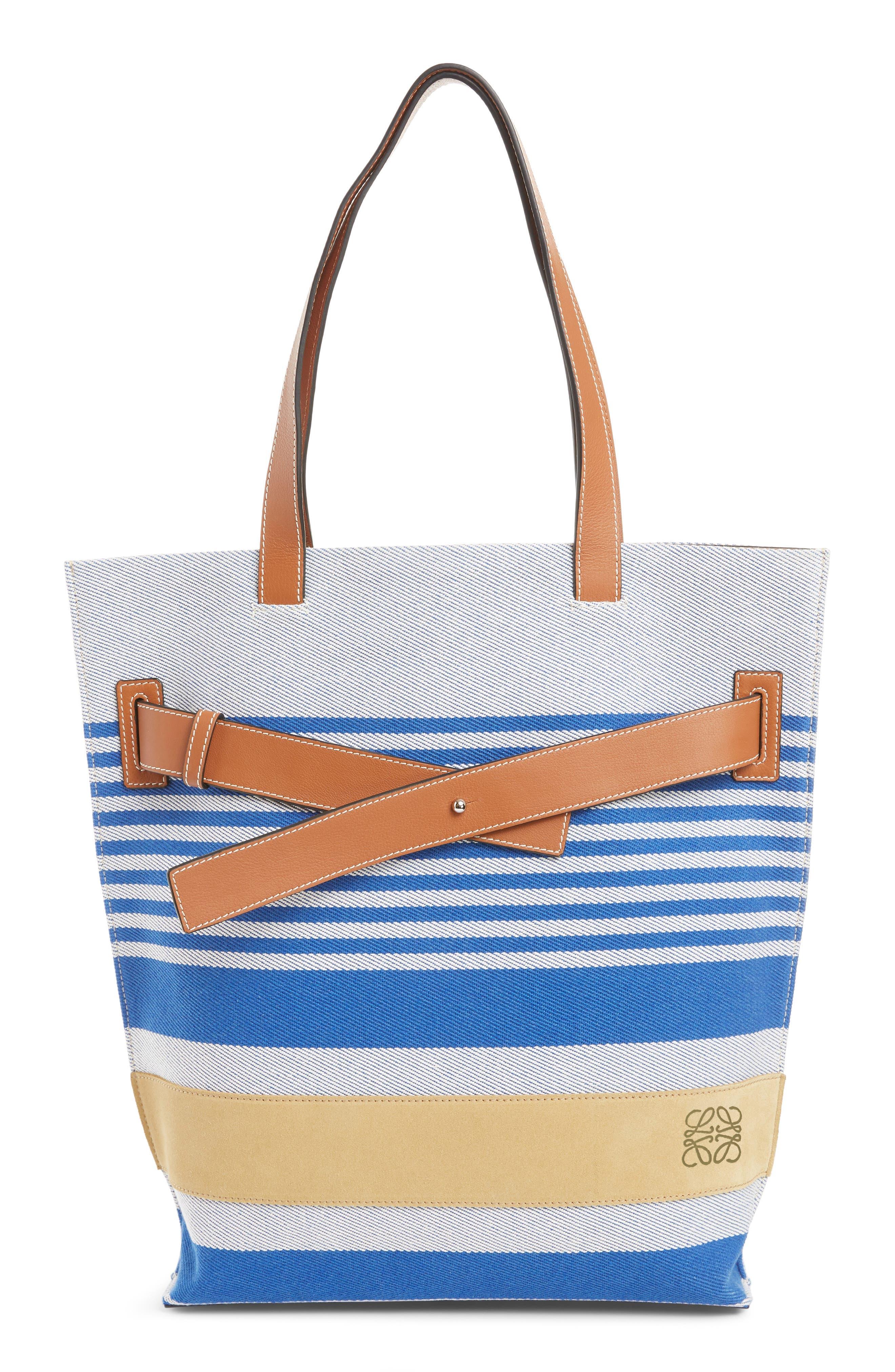 LOEWE, Stripe Twill Tote Bag, Main thumbnail 1, color, PACIFIC BLUE/MULTICOLOR