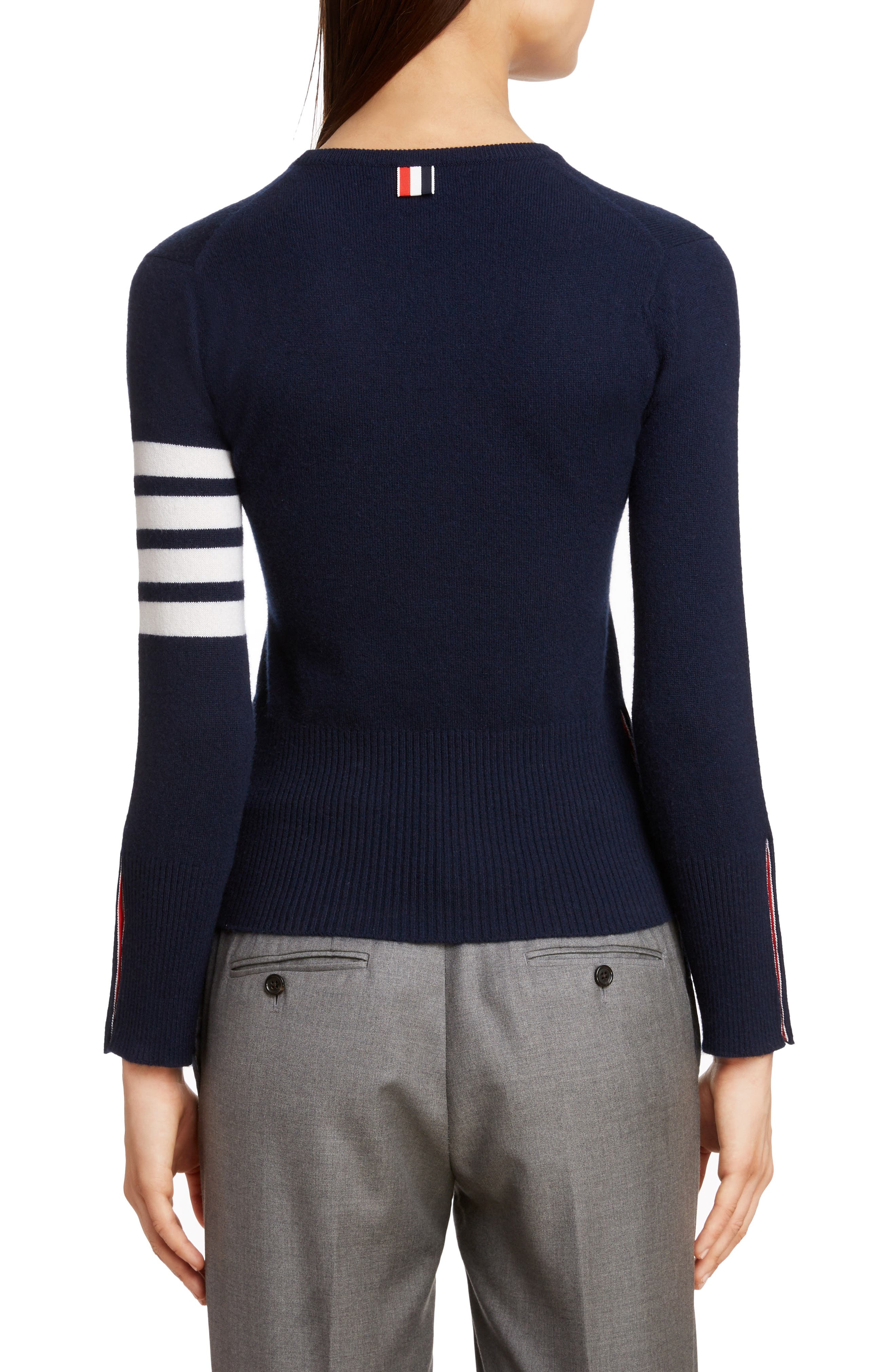THOM BROWNE, Classic Crewneck Cashmere Sweater, Alternate thumbnail 2, color, NAVY