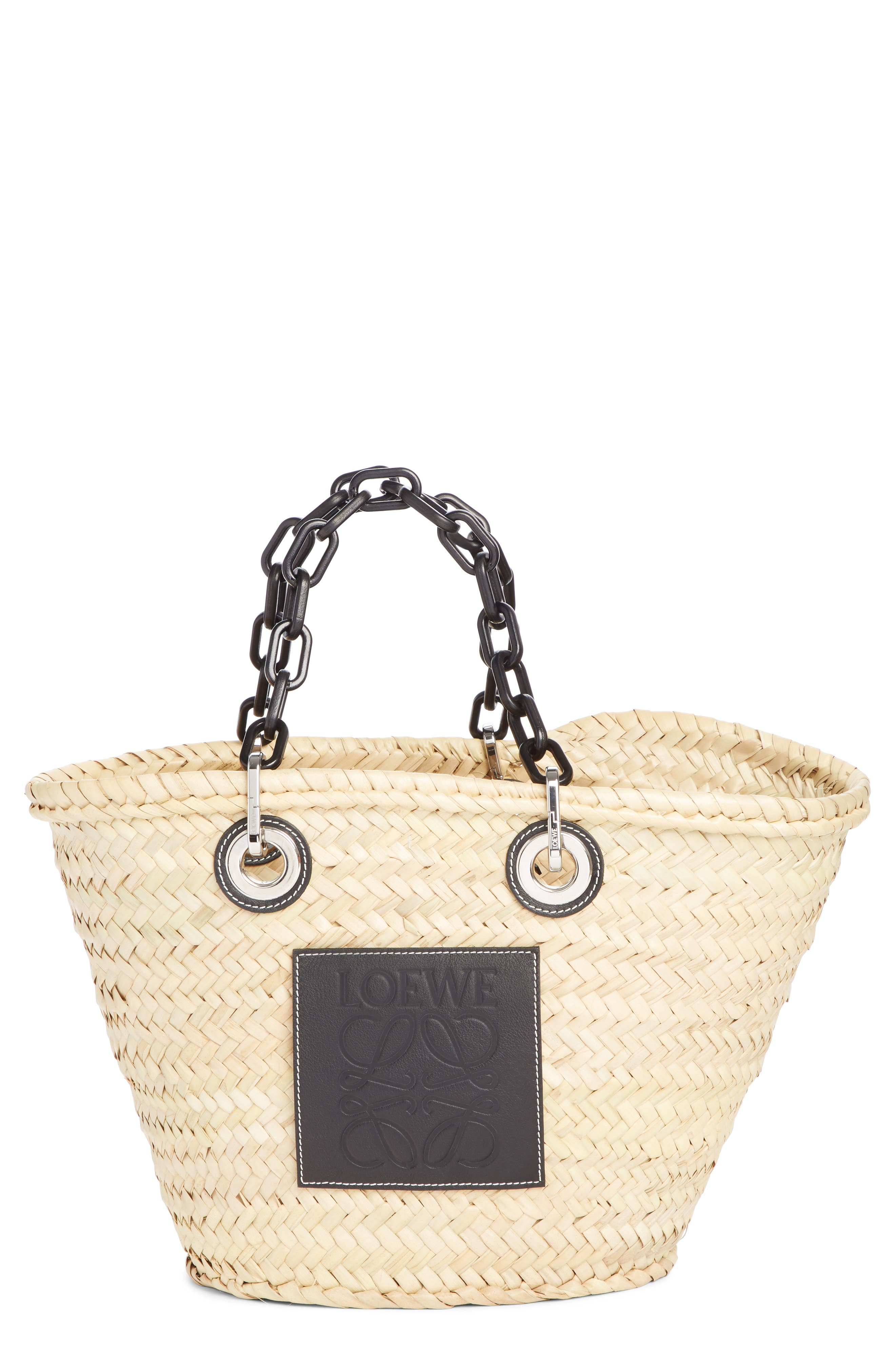LOEWE Chain Handle Woven Palm Market Basket, Main, color, NATURAL/ BLACK