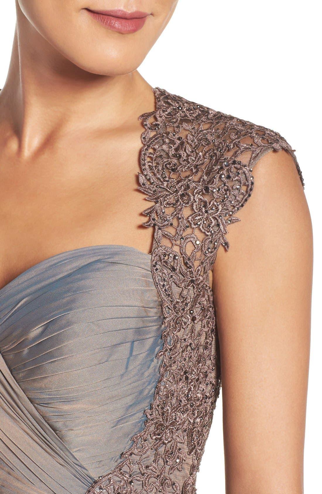 LA FEMME, Ruched Chiffon Gown, Alternate thumbnail 4, color, COCOA