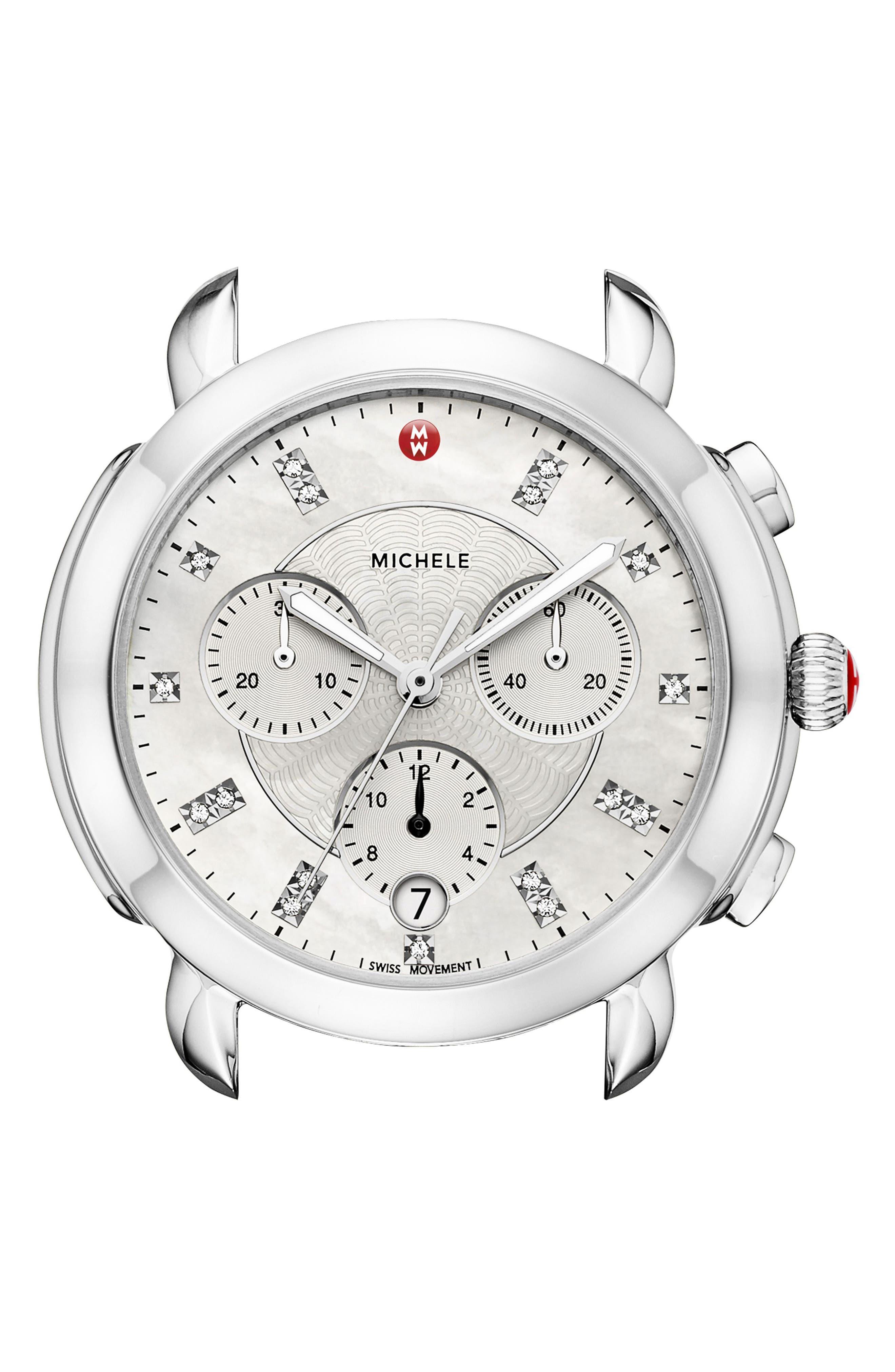 MICHELE, Sidney Chronograph Diamond Watch Head, 38mm, Main thumbnail 1, color, SILVER/ MOP