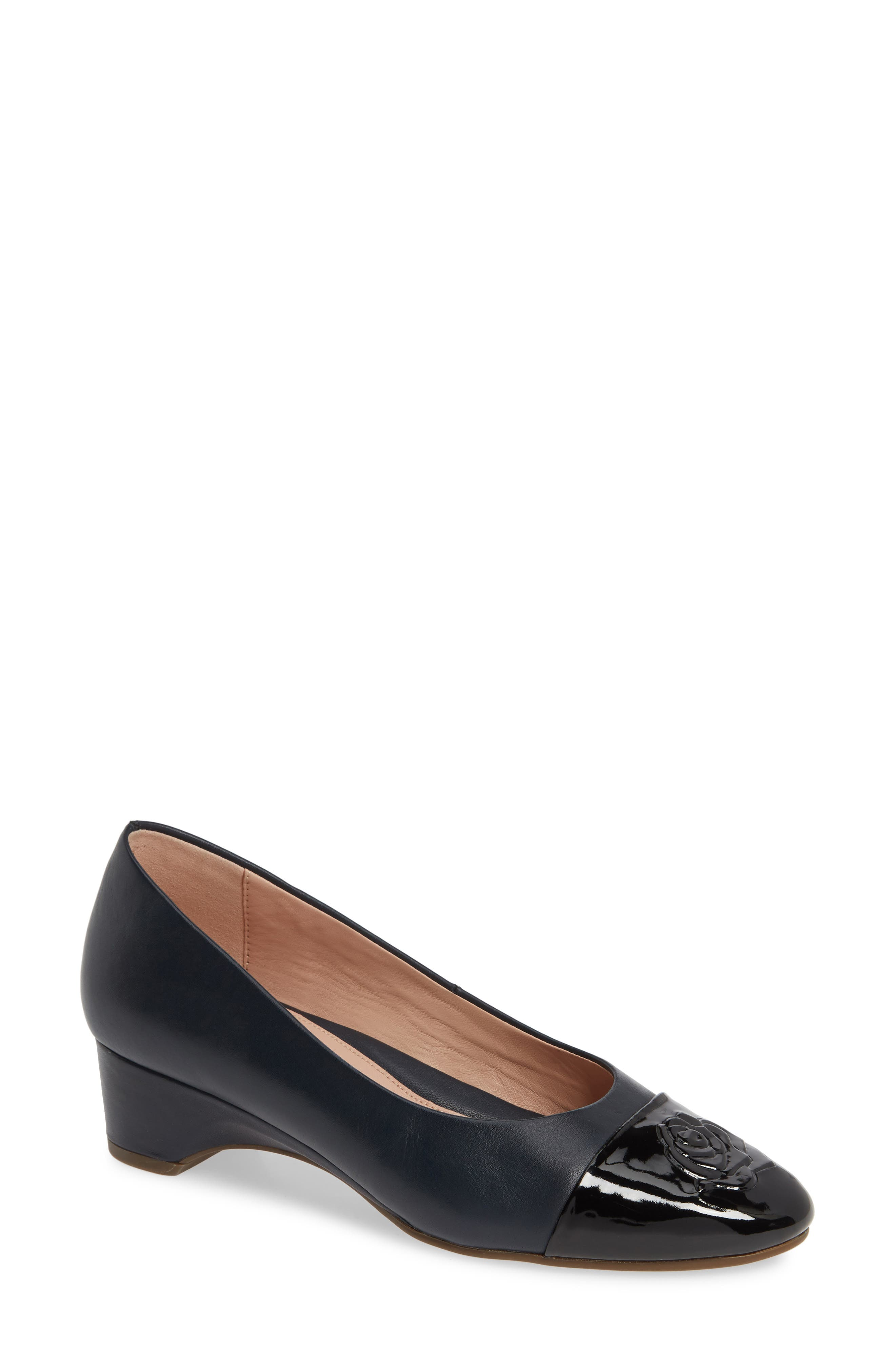 TARYN ROSE Babe Cap Toe Pump, Main, color, MIDNIGHT/ BLACK LEATHER