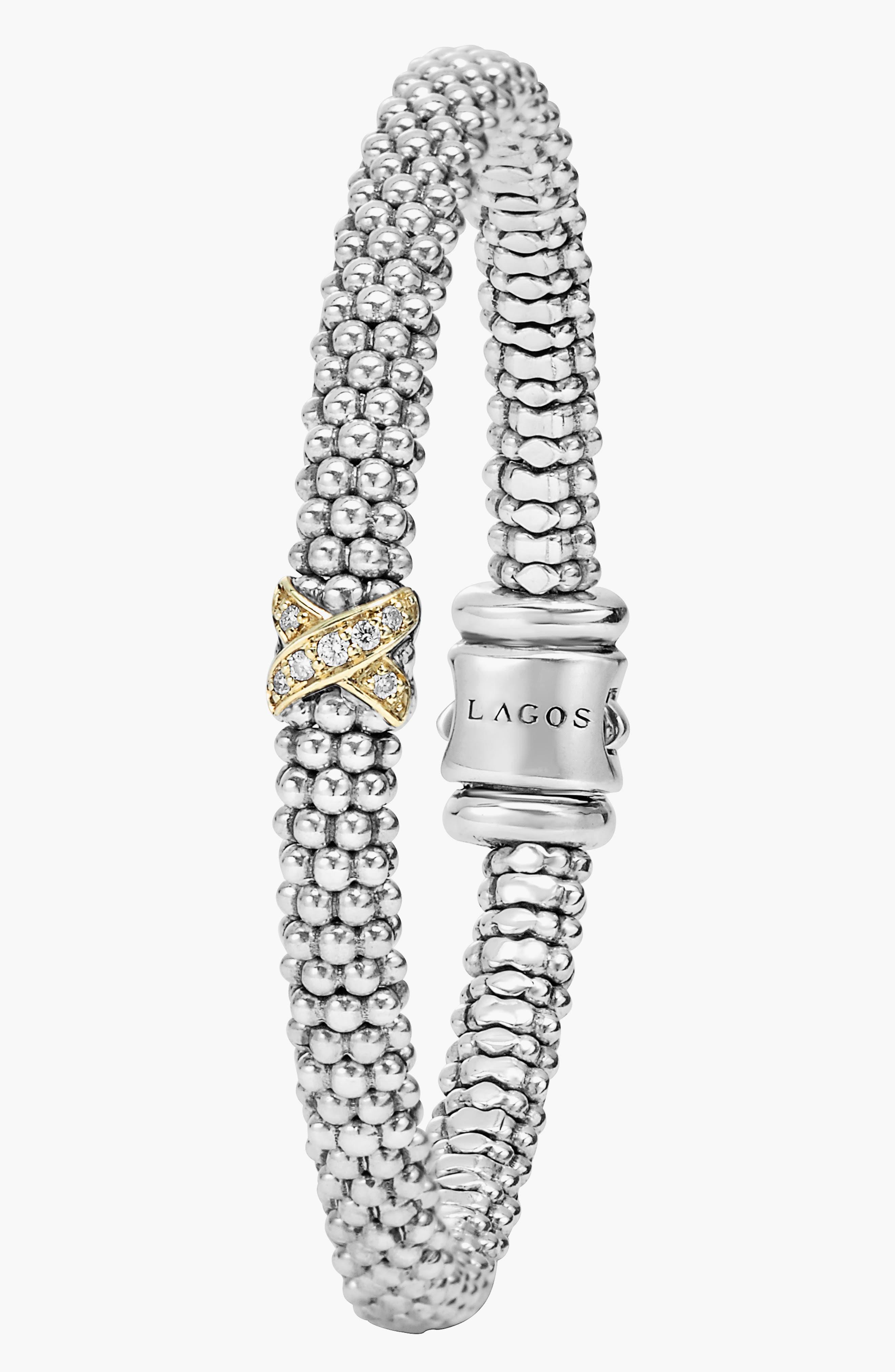 LAGOS, Caviar 'Signature Caviar' Diamond Rope Bracelet, Alternate thumbnail 4, color, STERLING SILVER/ GOLD
