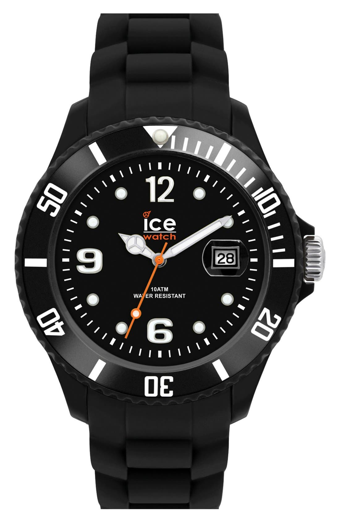 ICE WATCH, 'Ice-Forever' Silicone Bracelet Watch, 43mm, Main thumbnail 1, color, 001