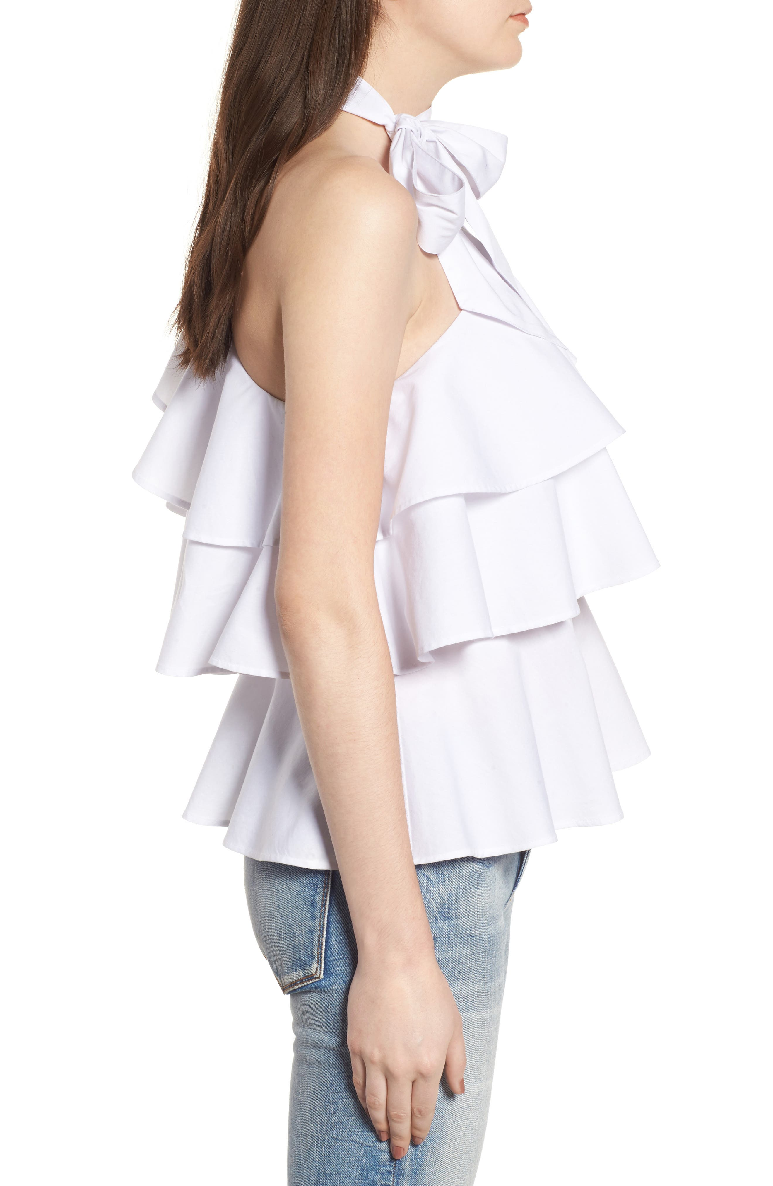LEITH, One-Shoulder Ruffle Top, Alternate thumbnail 3, color, 100