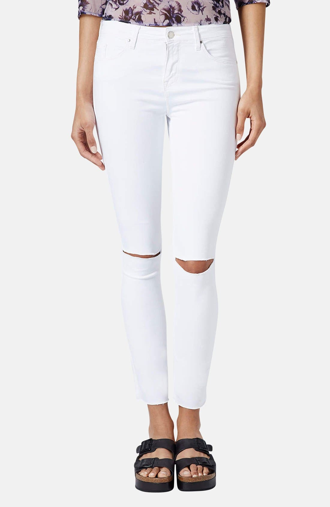 TOPSHOP, Moto 'Leigh' Distressed Skinny Jeans, Main thumbnail 1, color, 100