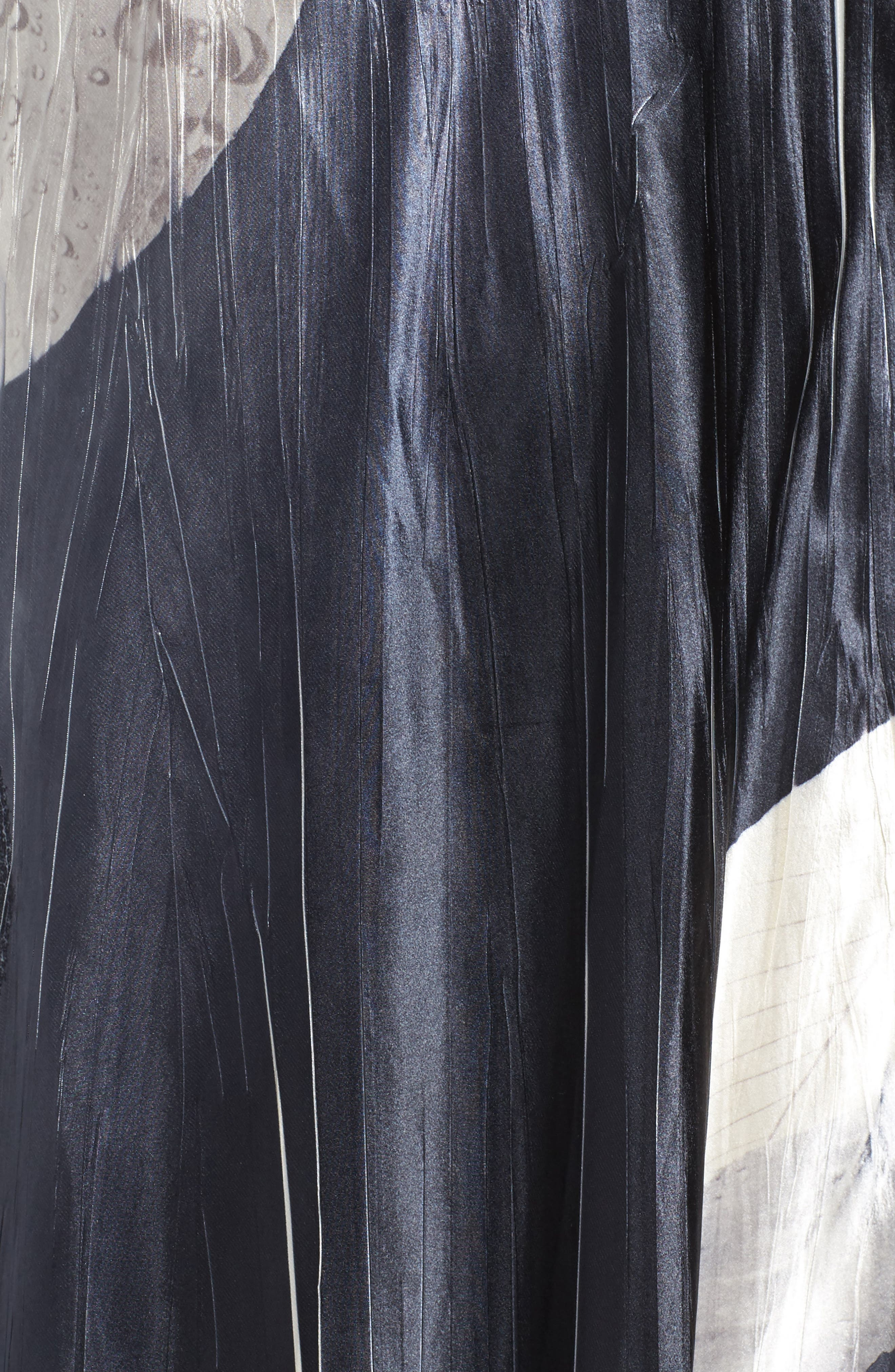 KOMAROV, Mixed Media Midi Dress, Alternate thumbnail 5, color, BLACK MONEY LEAVES