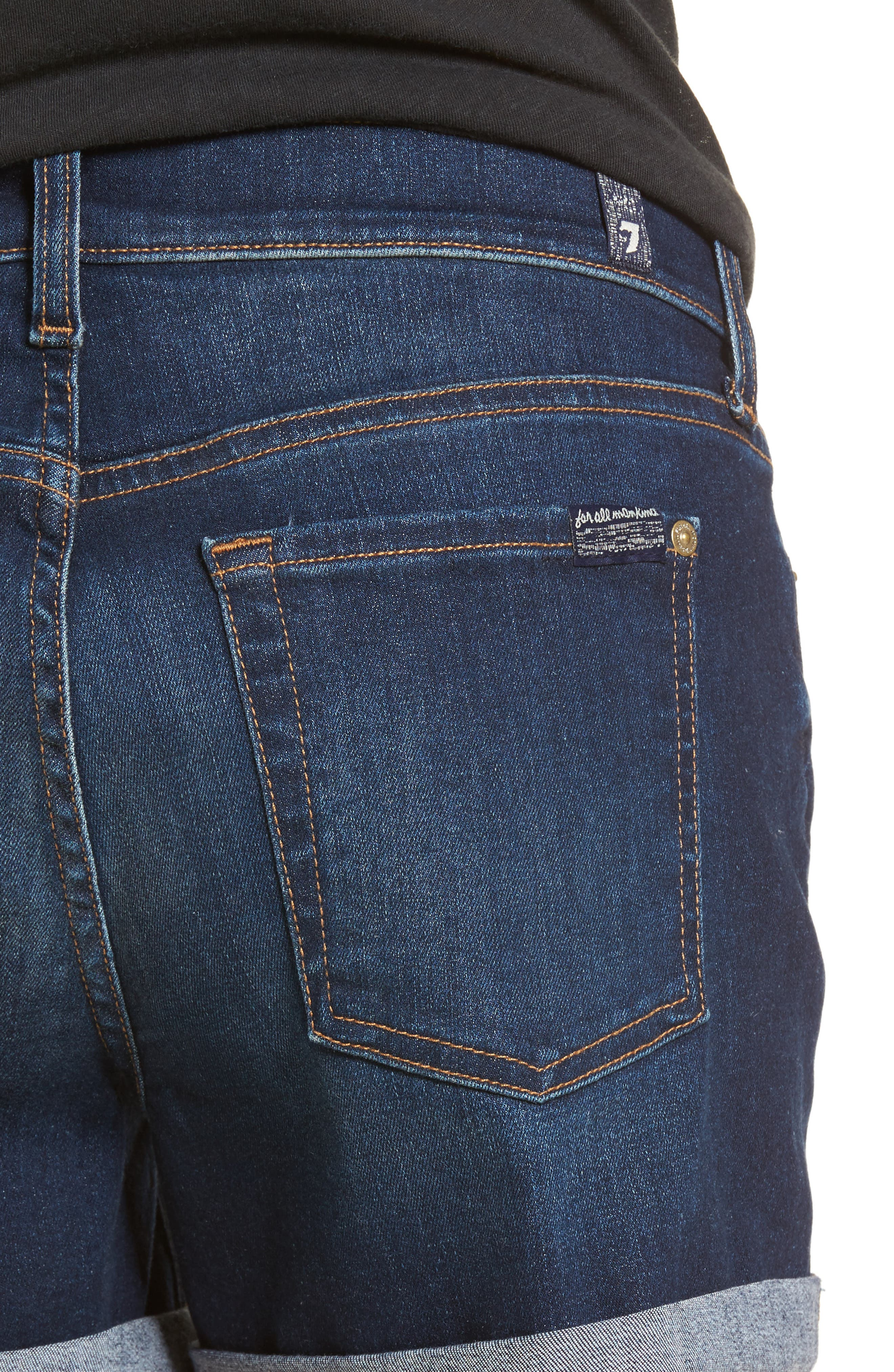 7 FOR ALL MANKIND<SUP>®</SUP>, b(air) Cuffed Denim Shorts, Alternate thumbnail 5, color, MORENO