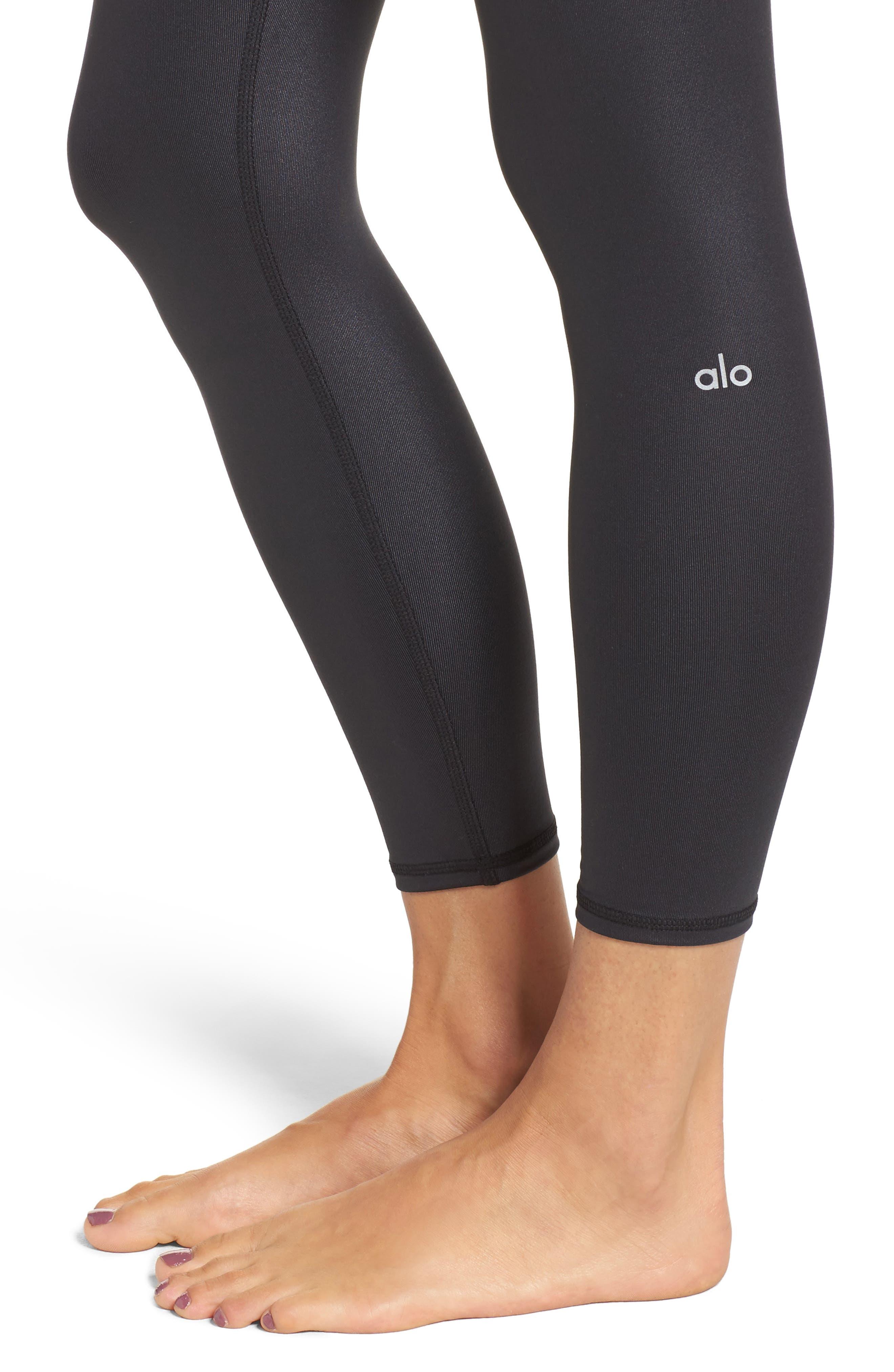 ALO, Airbrush 7/8 High Waist Leggings, Alternate thumbnail 5, color, BLACK GLOSSY