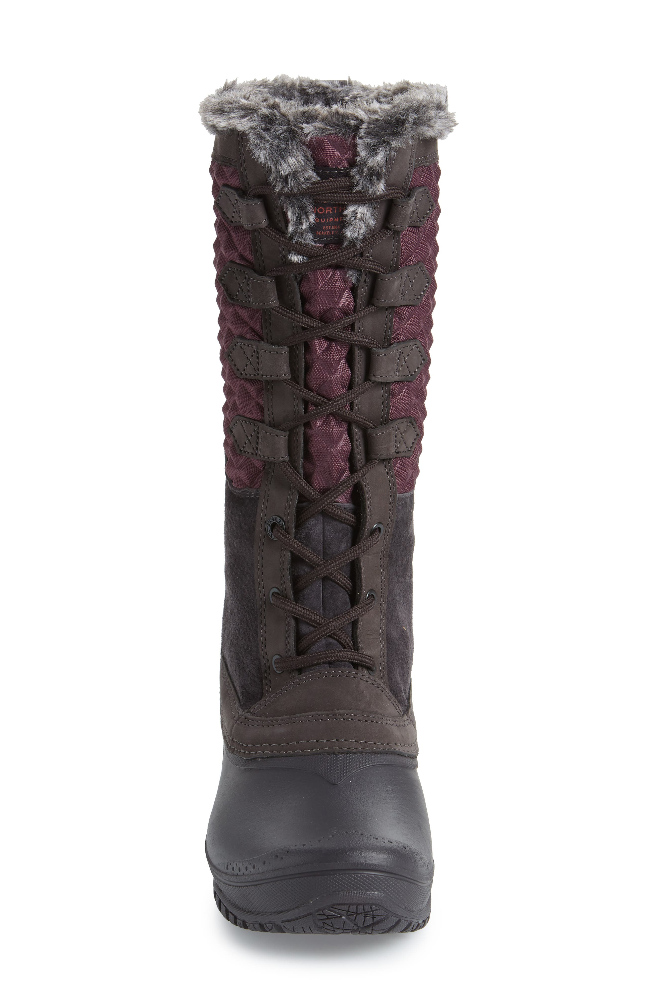 THE NORTH FACE, Shellista III Tall Waterproof Insulated Winter Boot, Alternate thumbnail 4, color, FIG/ WEATHERED BLACK