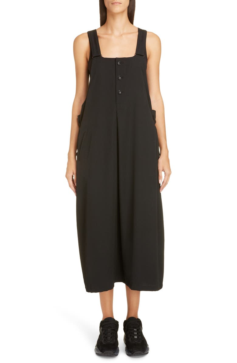 Y's Dresses WOOL GABARDINE MIDI DRESS