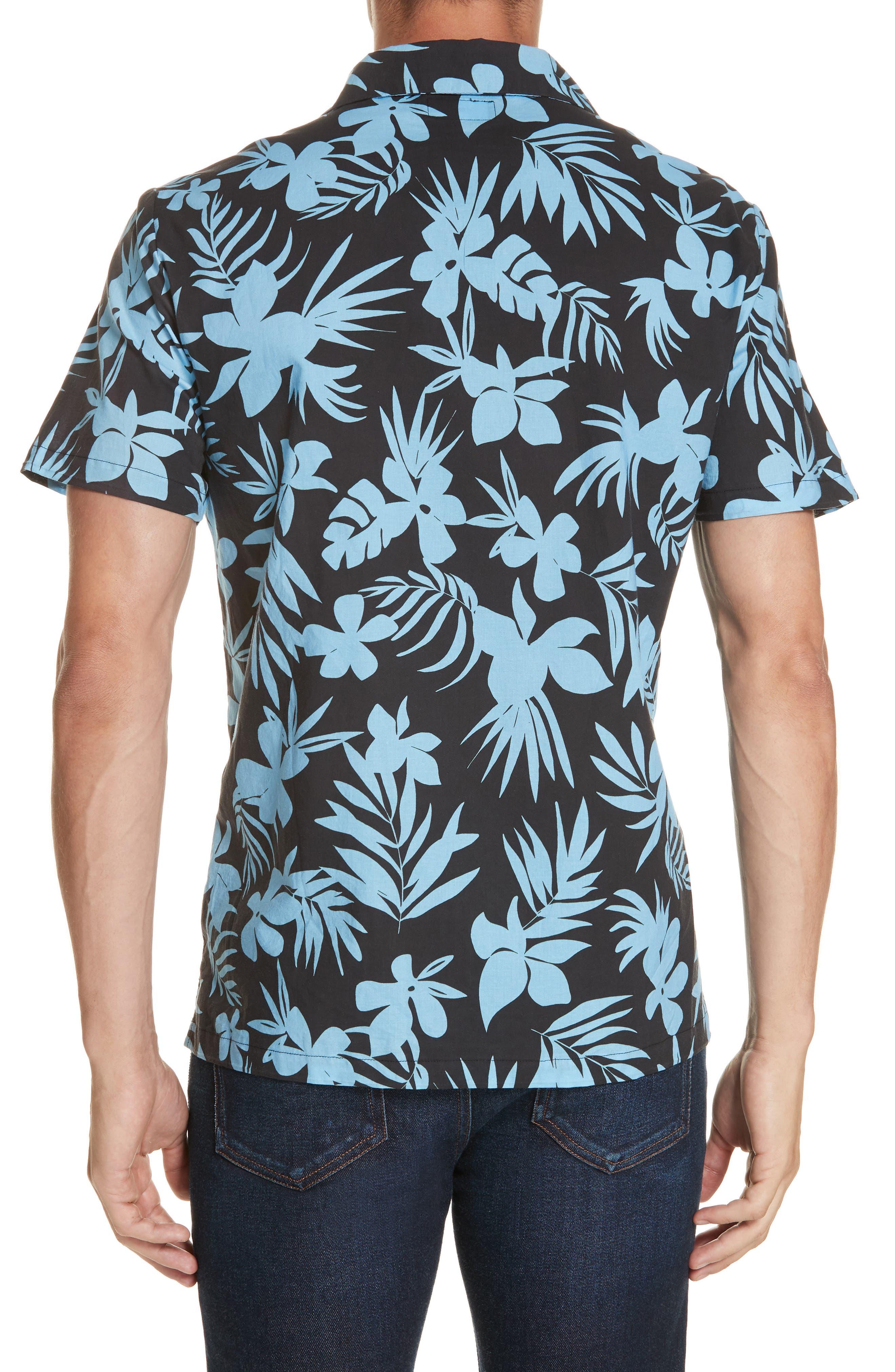 ONIA, Hibiscus Print Camp Shirt, Alternate thumbnail 3, color, BLACK