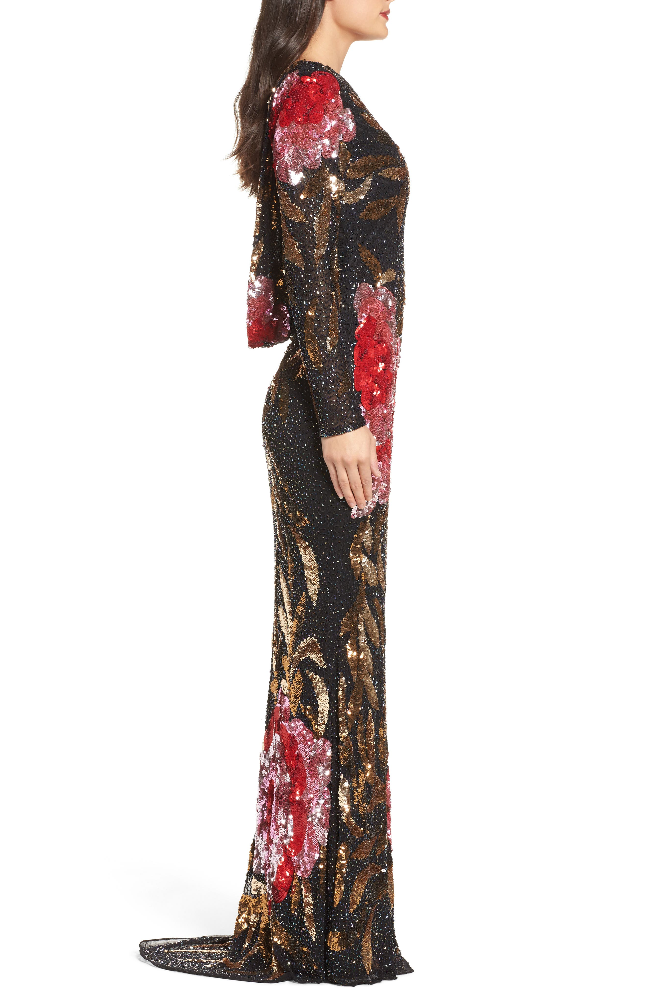 MAC DUGGAL, Drape Back Floral Sequin Gown, Alternate thumbnail 4, color, BLACK/ RED MULTI