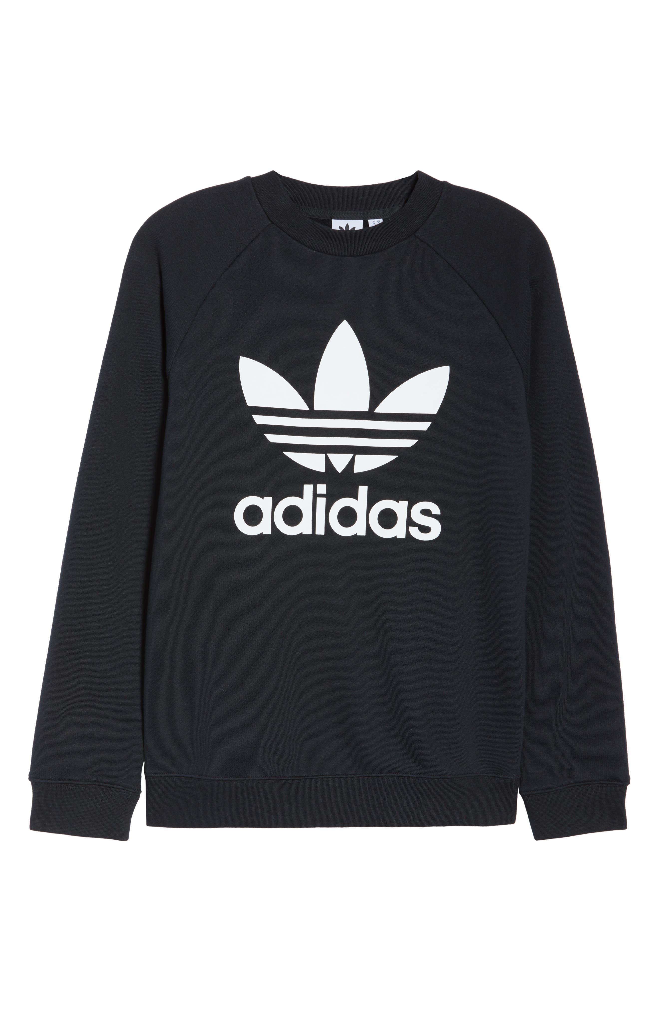 ADIDAS ORIGINALS, Trefoil Sweatshirt, Alternate thumbnail 7, color, 001
