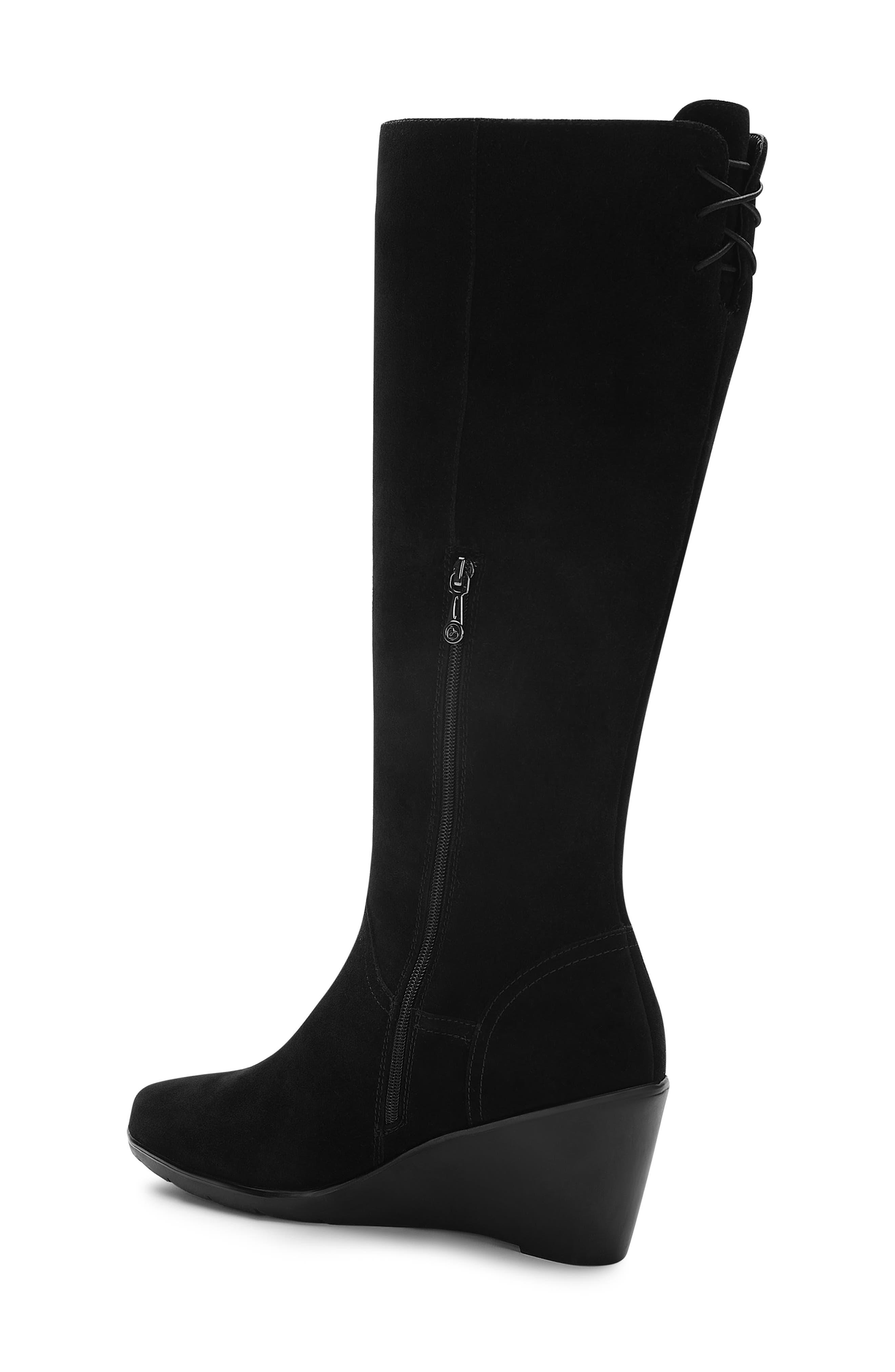 BLONDO, Larissa Waterproof Wedge Knee High Boot, Alternate thumbnail 2, color, BLACK SUEDE