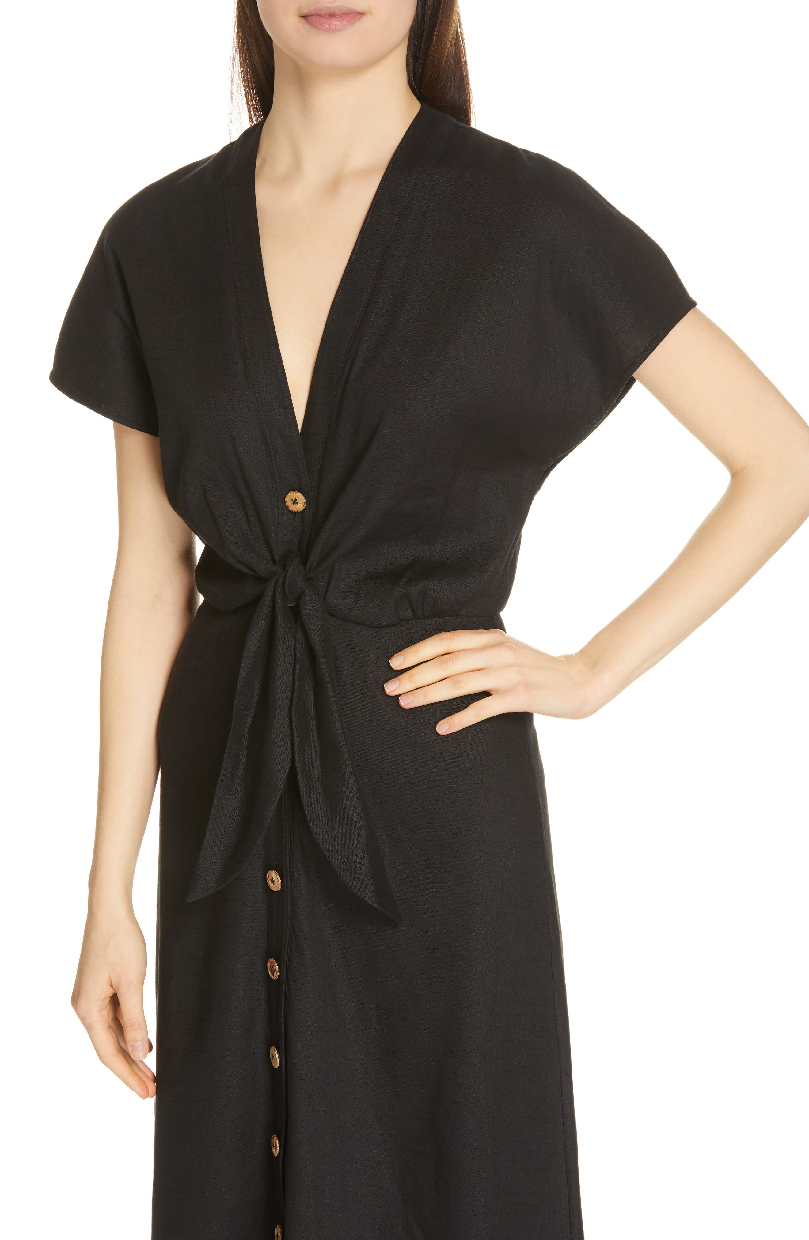 VERONICA BEARD, Giana Tie Waist Linen Blend Midi Dress, Alternate thumbnail 5, color, BLACK
