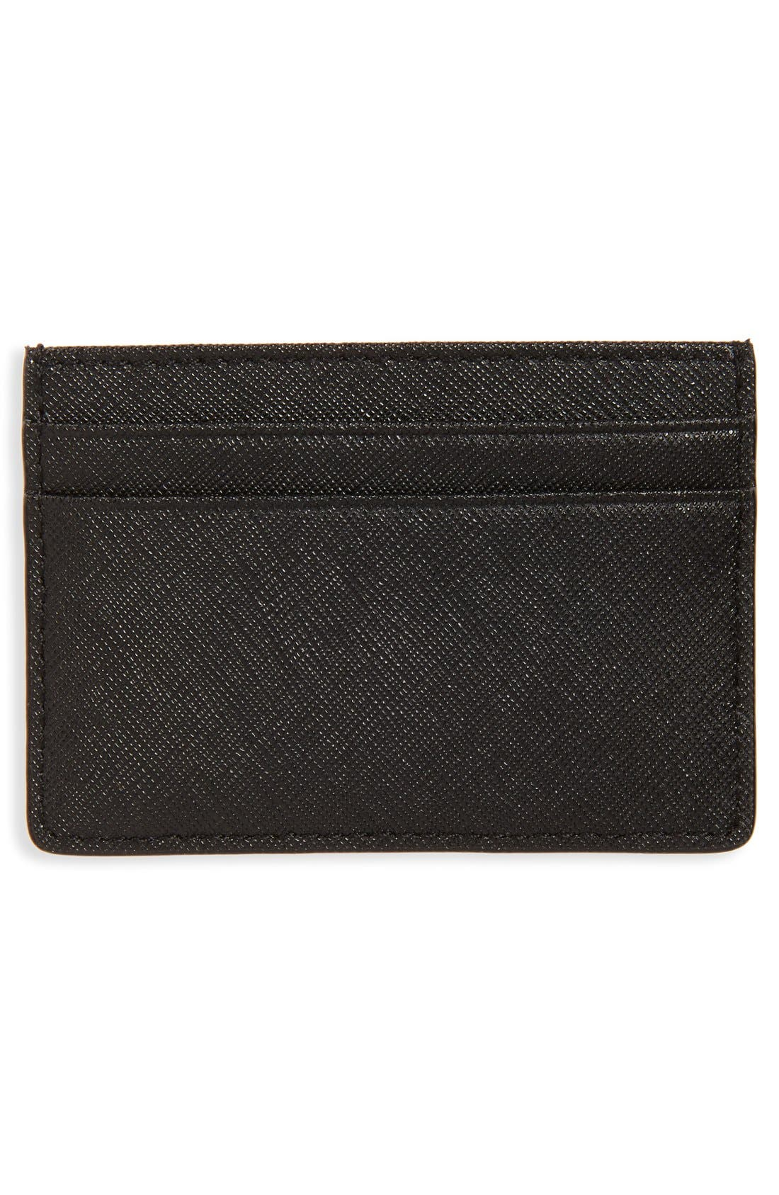 TORY BURCH, 'Robinson' Slim Saffiano Leather Card Case, Alternate thumbnail 2, color, 001