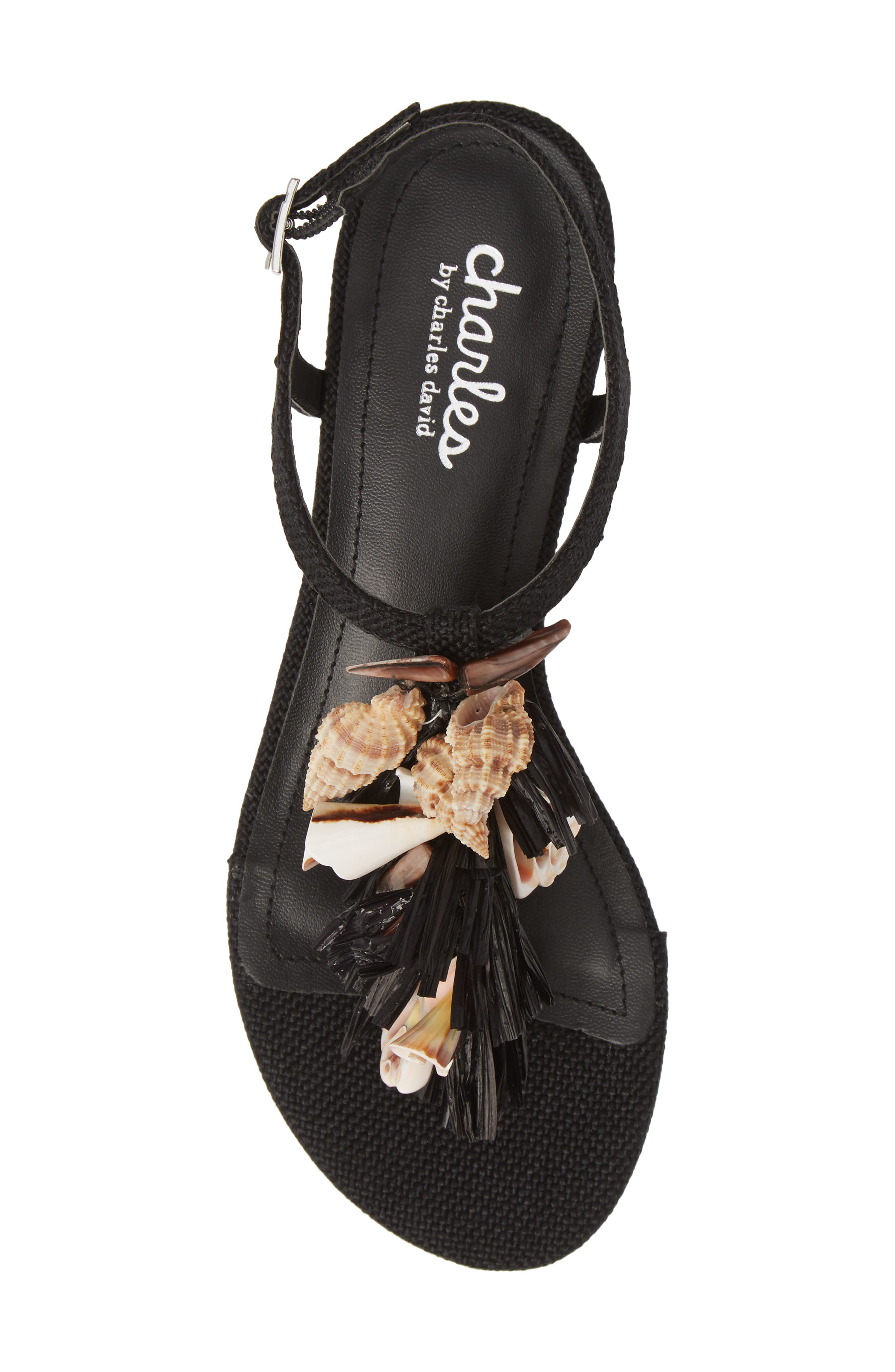 CHARLES BY CHARLES DAVID, Seashell Sandal, Alternate thumbnail 5, color, BLACK FABRIC