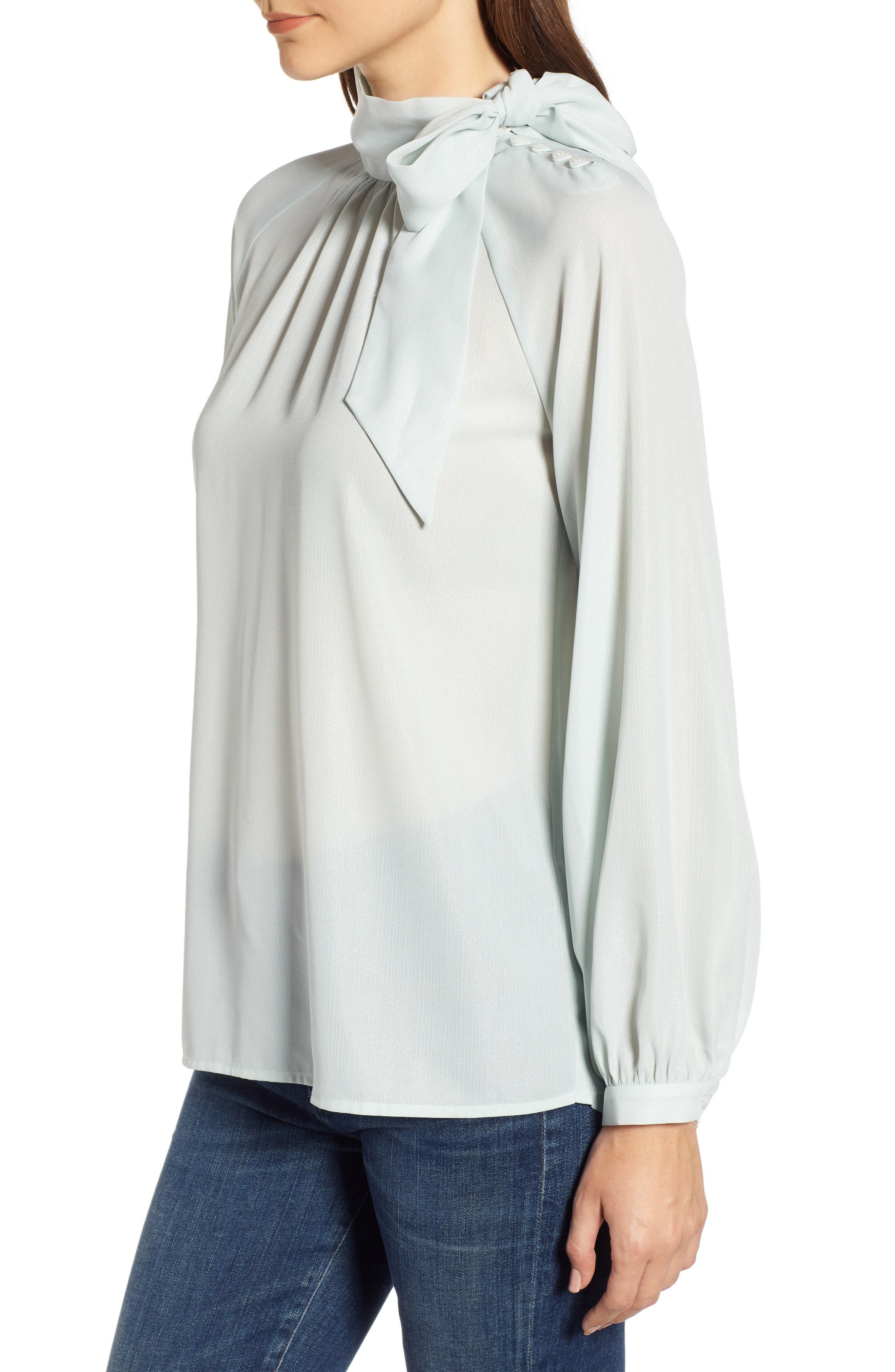 CHELSEA28, Tie Neck Shimmer Top, Alternate thumbnail 3, color, 450