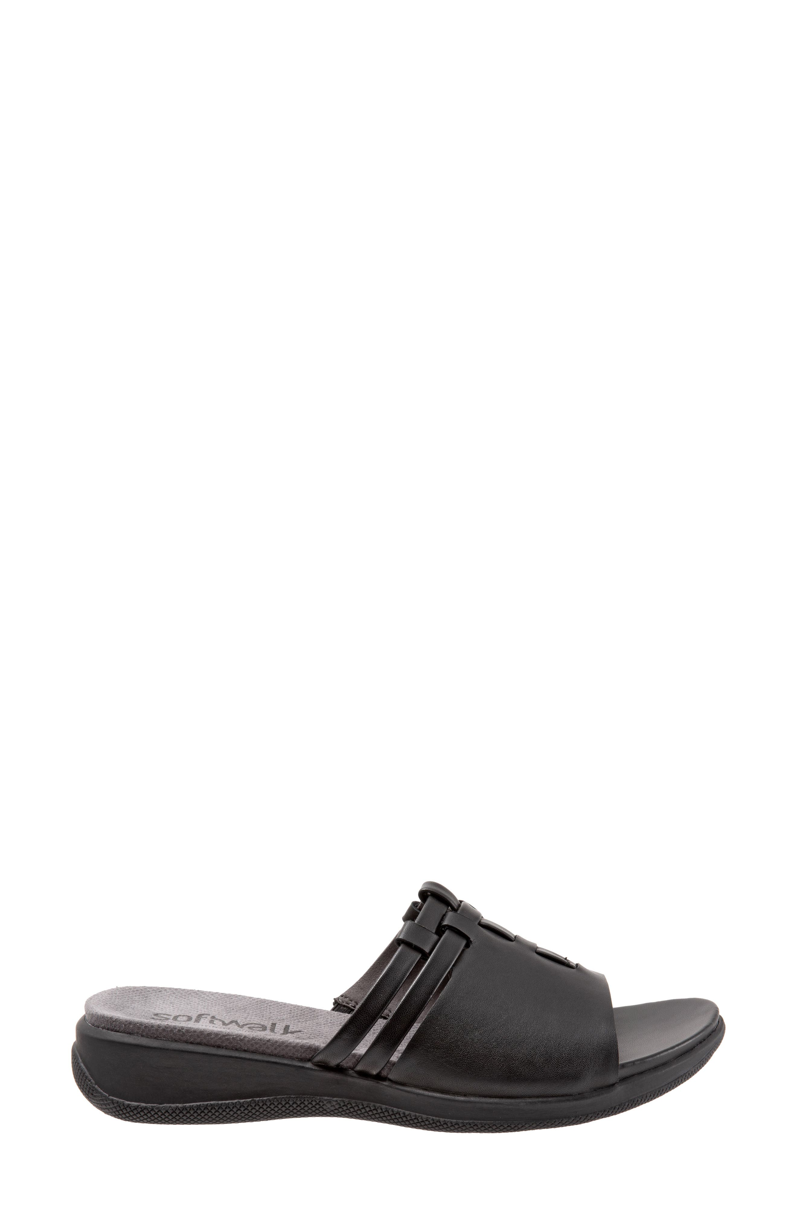 SOFTWALK<SUP>®</SUP>, Tahoma Woven Slide Sandal, Alternate thumbnail 3, color, BLACK LEATHER