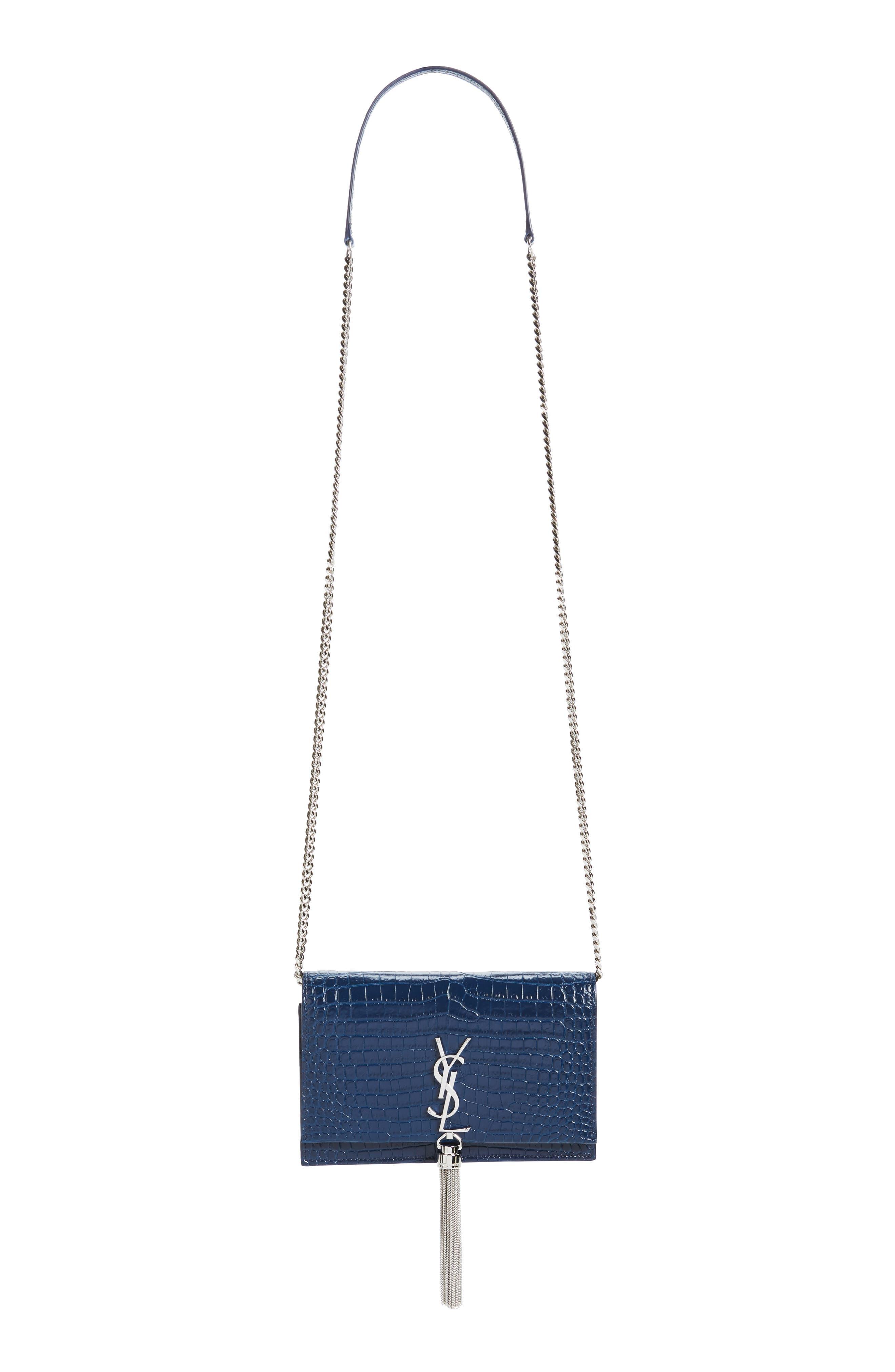 SAINT LAURENT, Kate Croc Embossed Leather Wallet on a Chain, Alternate thumbnail 2, color, DENIM BLUE/ DENIM BLUE