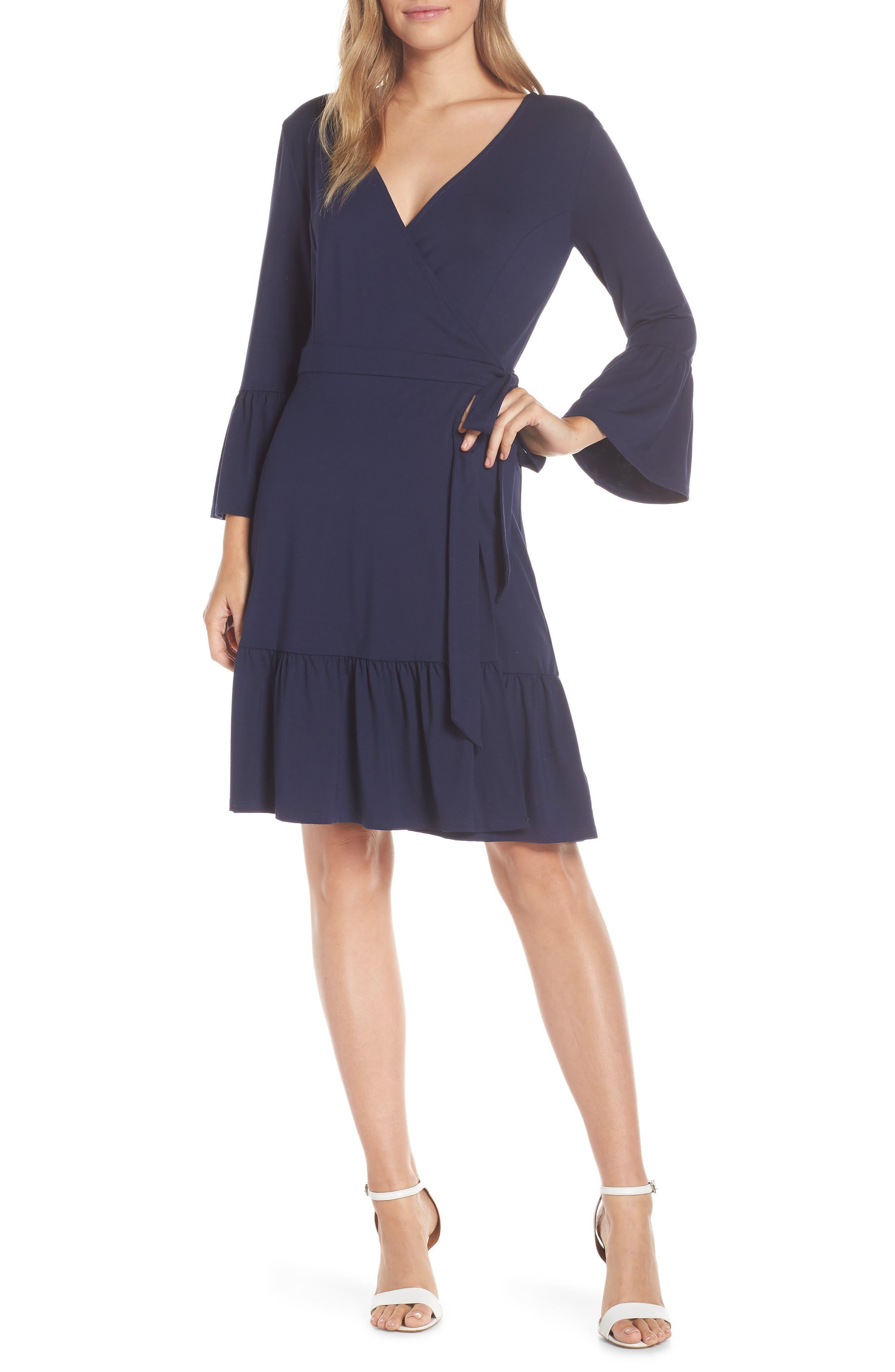 LILLY PULITZER<SUP>®</SUP>, Misha Wrap Dress, Main thumbnail 1, color, TRUE NAVY