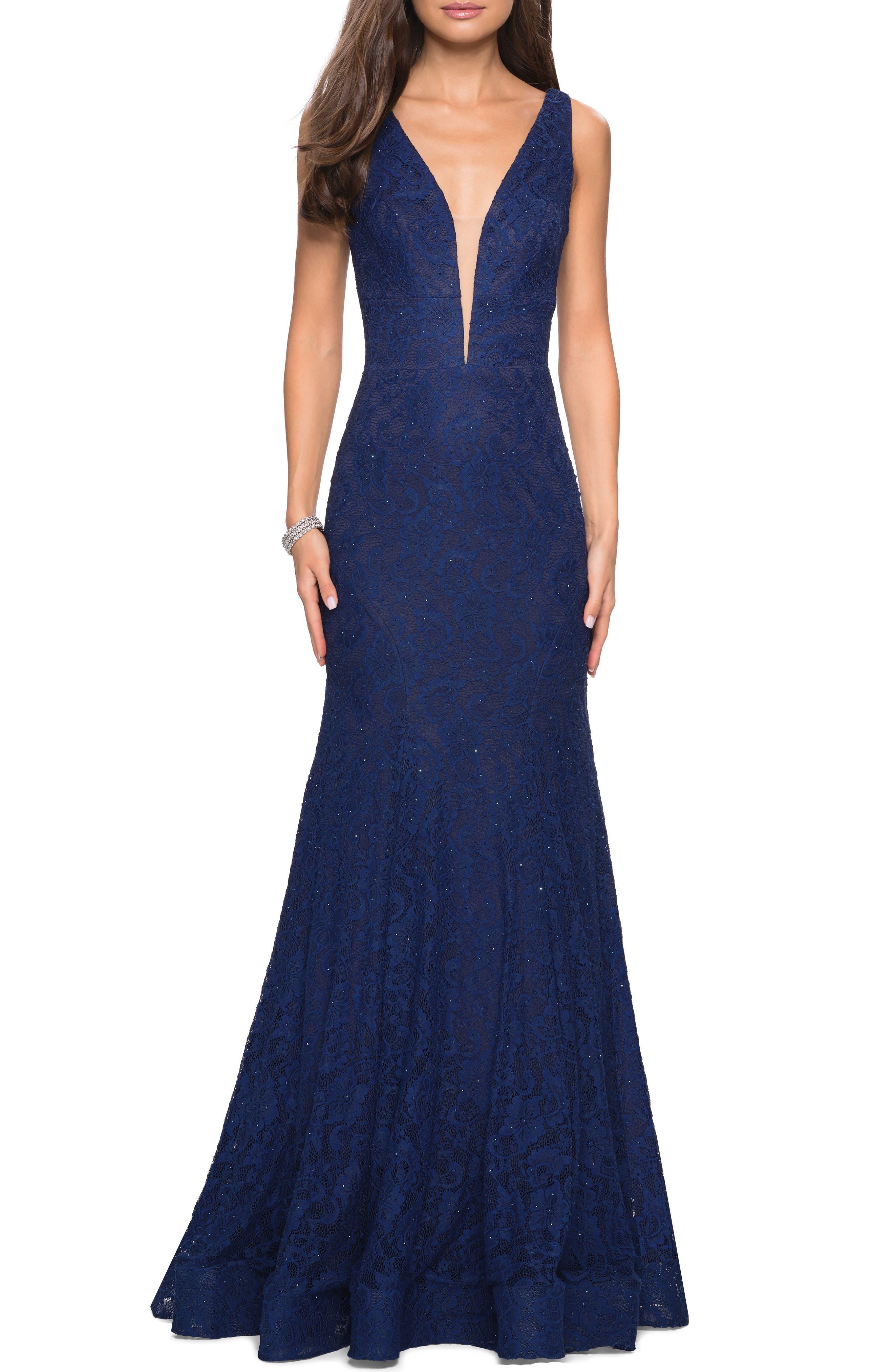 La Femme Plunge Neck Lace Evening Dress With Train, Blue