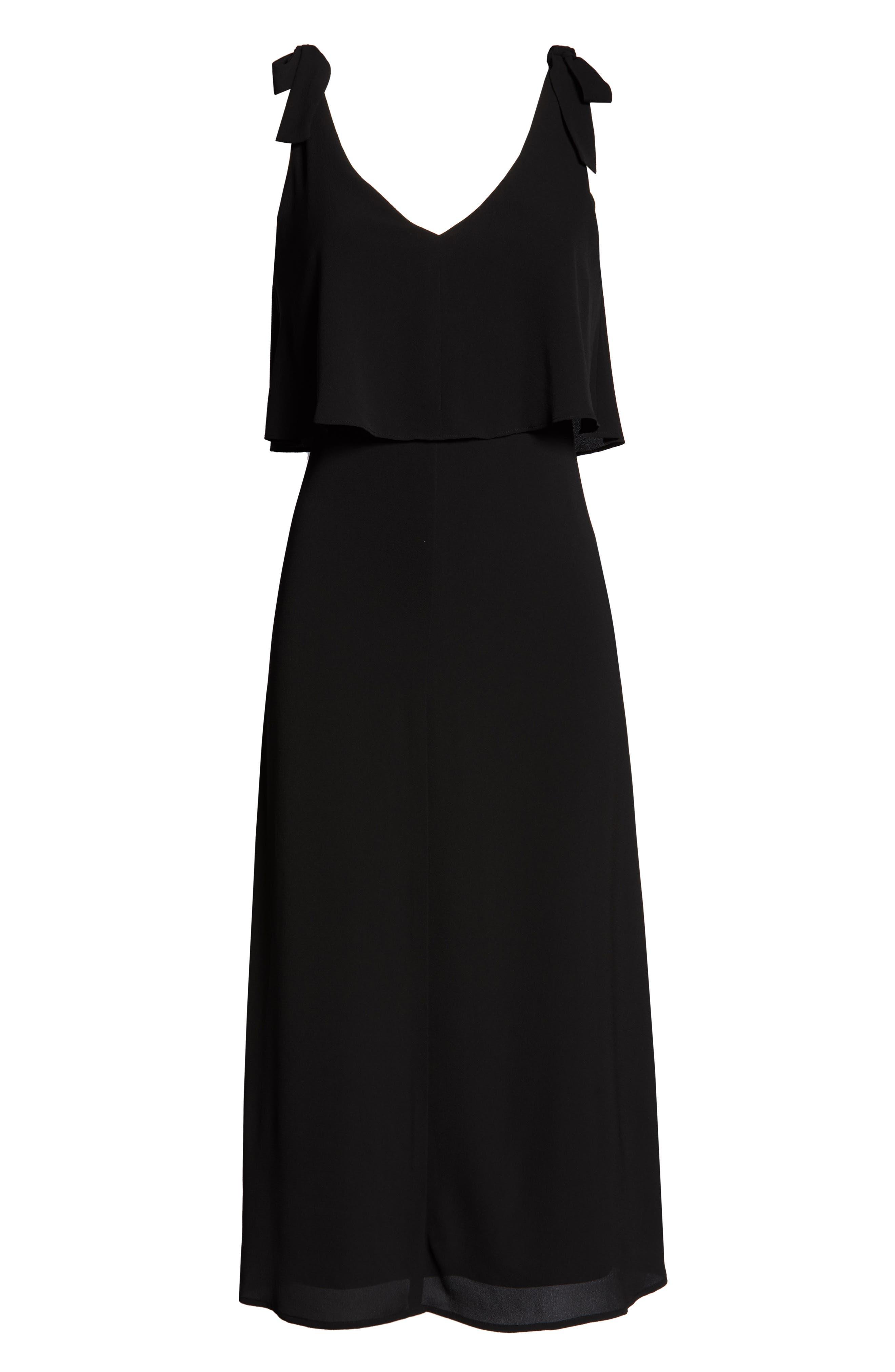 CHARLES HENRY, Tie Shoulder Popover Midi Dress, Alternate thumbnail 7, color, BLACK