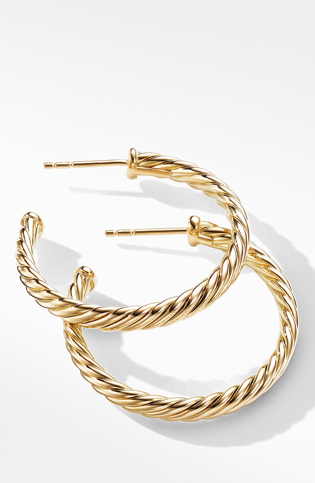 DAVID YURMAN, Cable Loop Hoop Earrings, Alternate thumbnail 2, color, GOLD