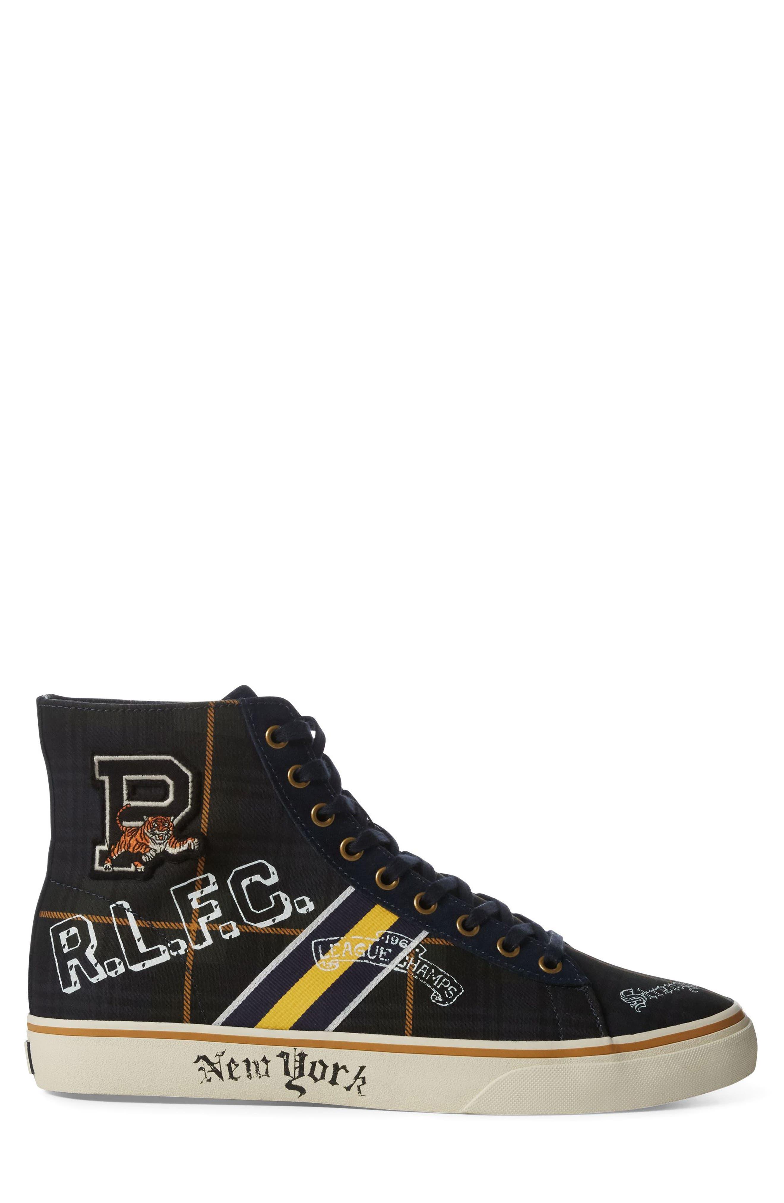 POLO RALPH LAUREN, Solomon II Sneaker, Alternate thumbnail 2, color, MULTI BLACK/ YELLOW CANVAS