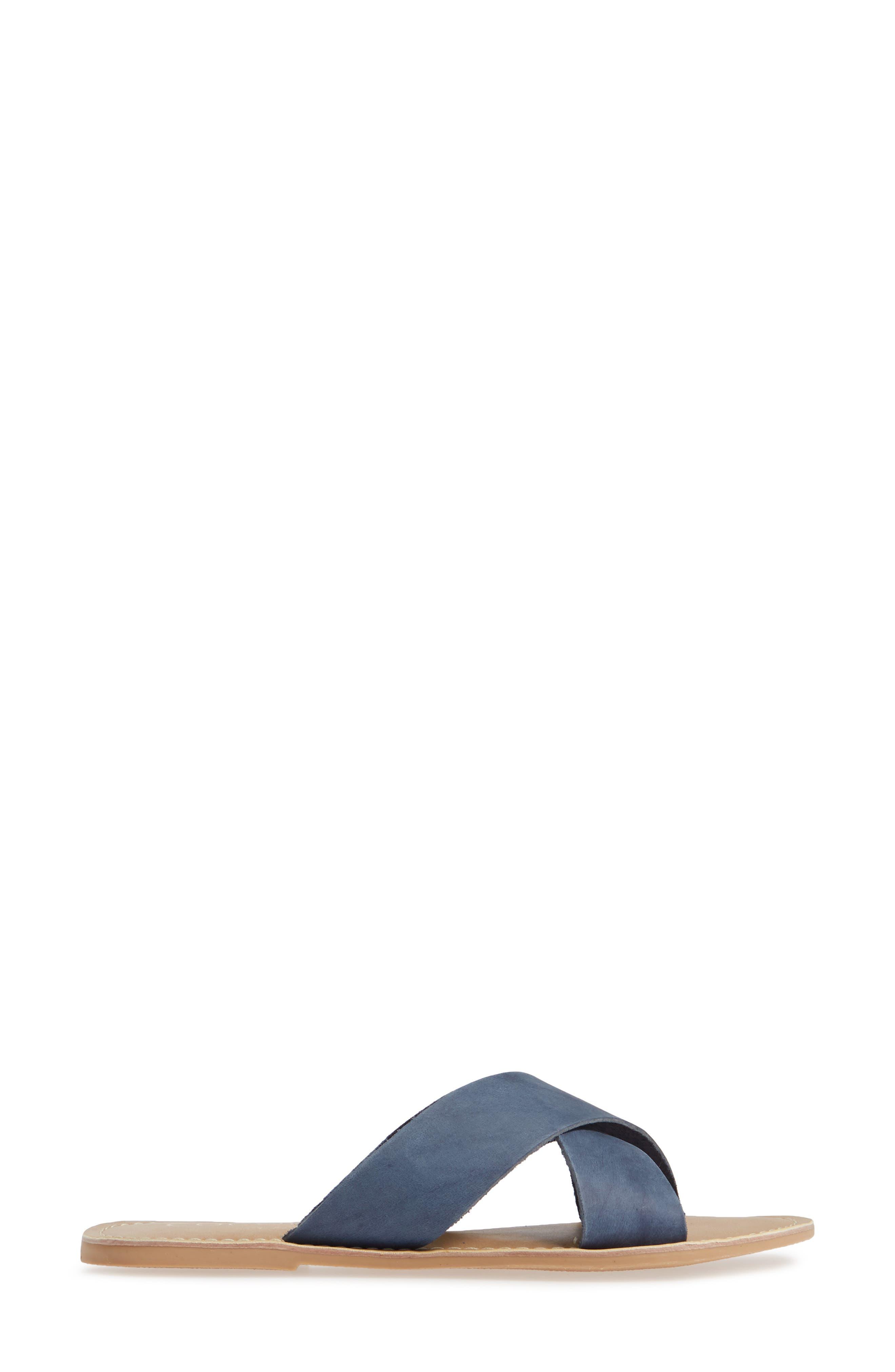 COCONUTS BY MATISSE, Pebble Slide Sandal, Alternate thumbnail 3, color, BLUE NUBUCK LEATHER